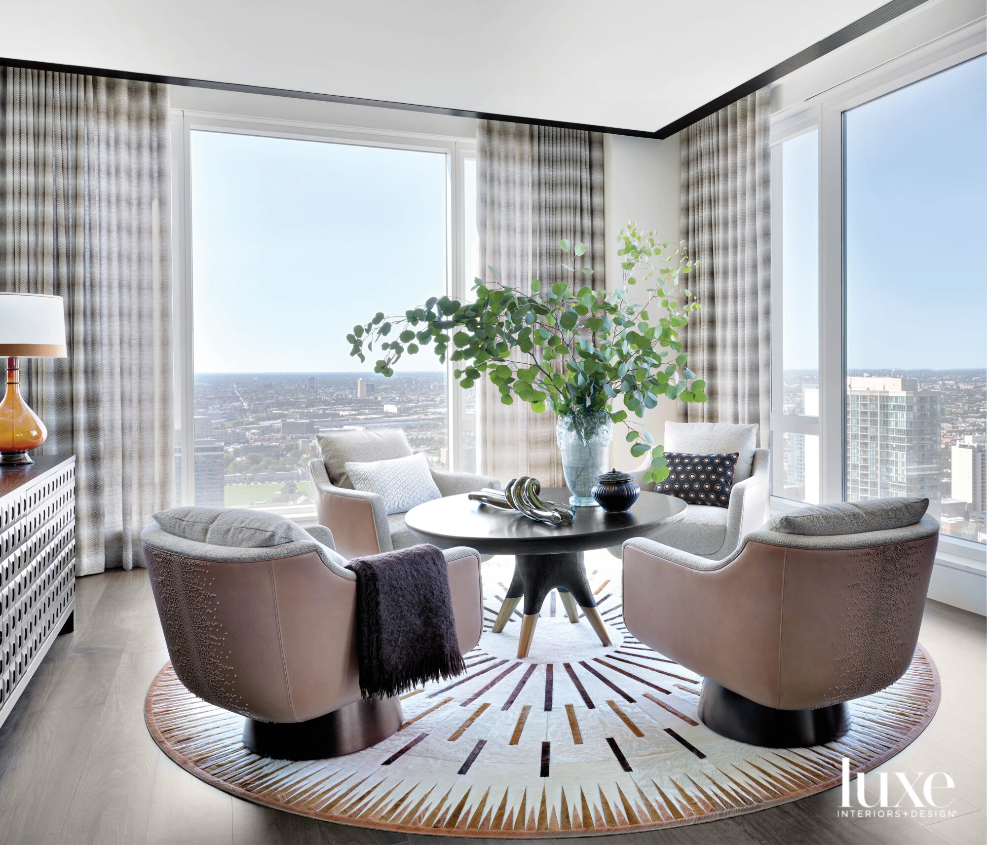 A lounge area features four...