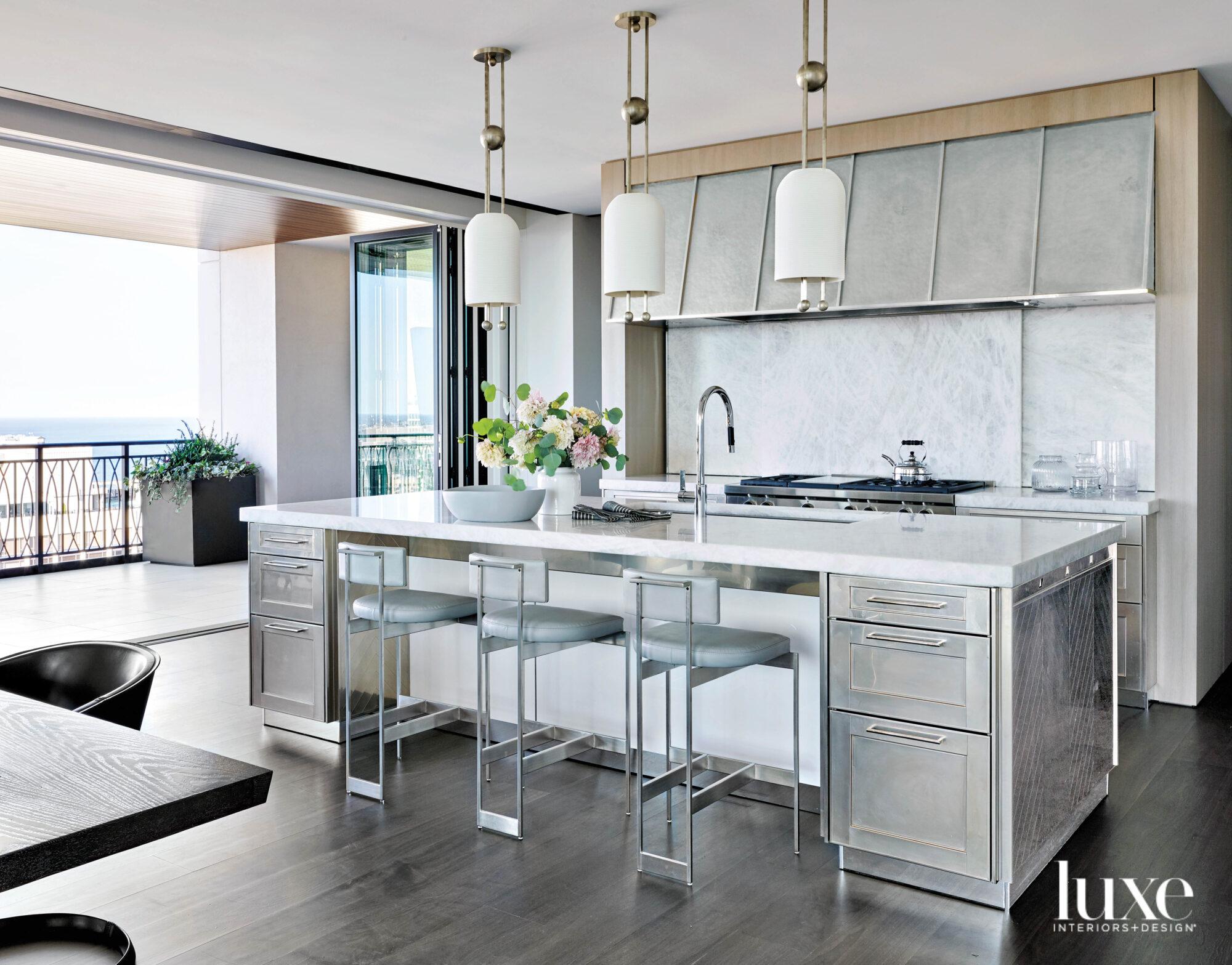 A modern kitchen with satin...