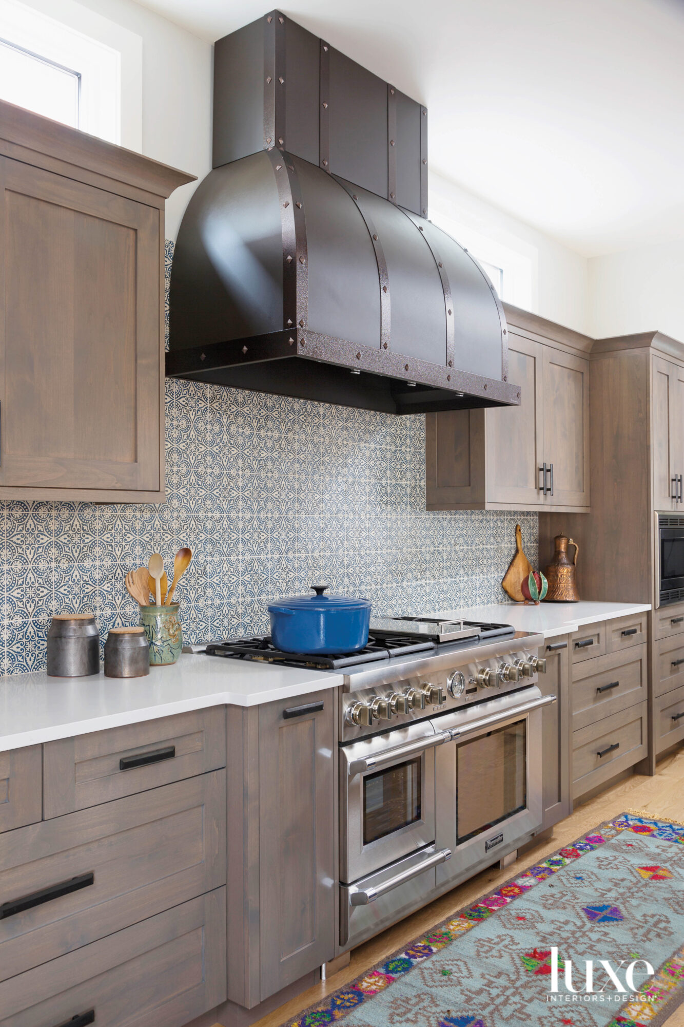 A large range hood with...