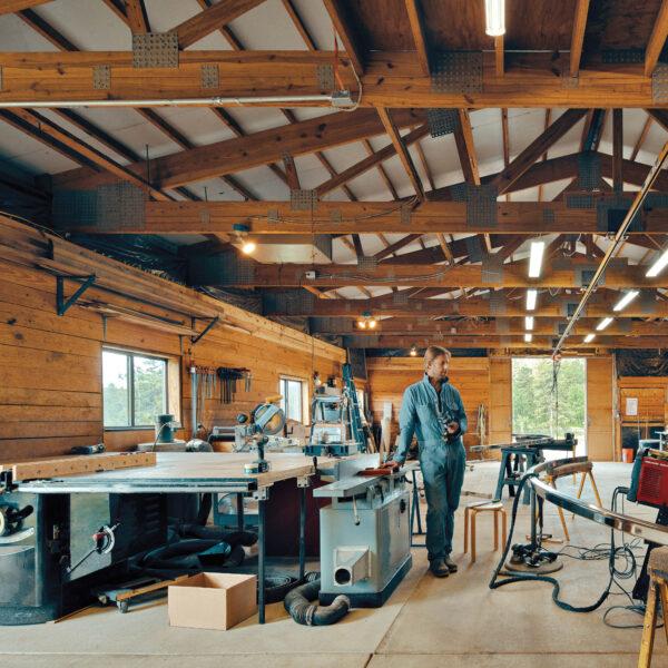 Artist Patrick Marold stands in his barn studio.