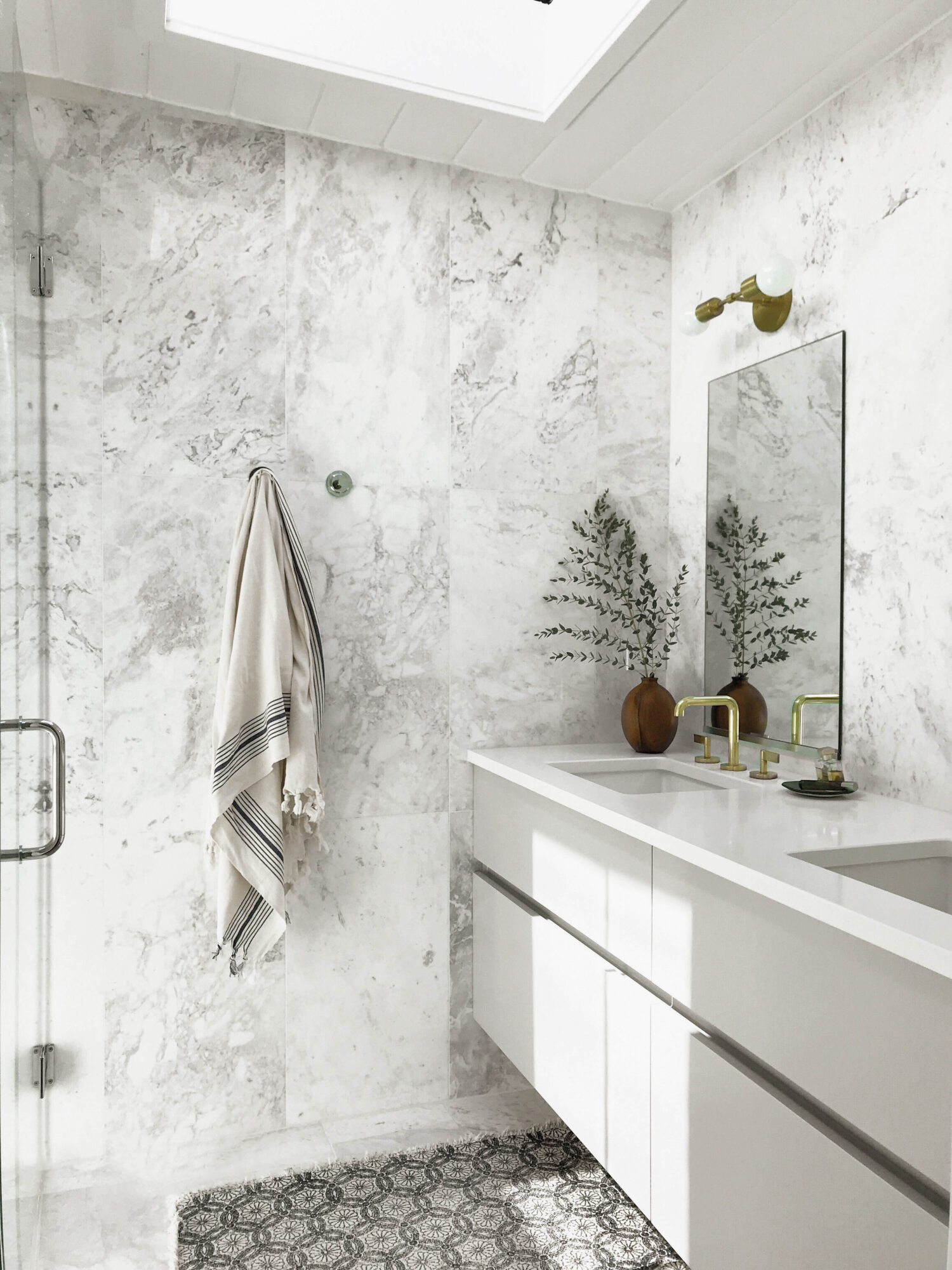 bathroom with white and marble