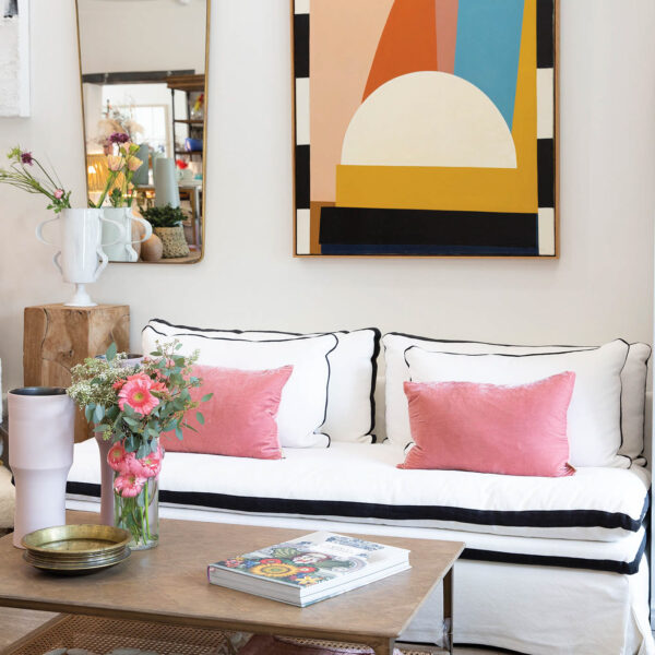 white sofa with black trim