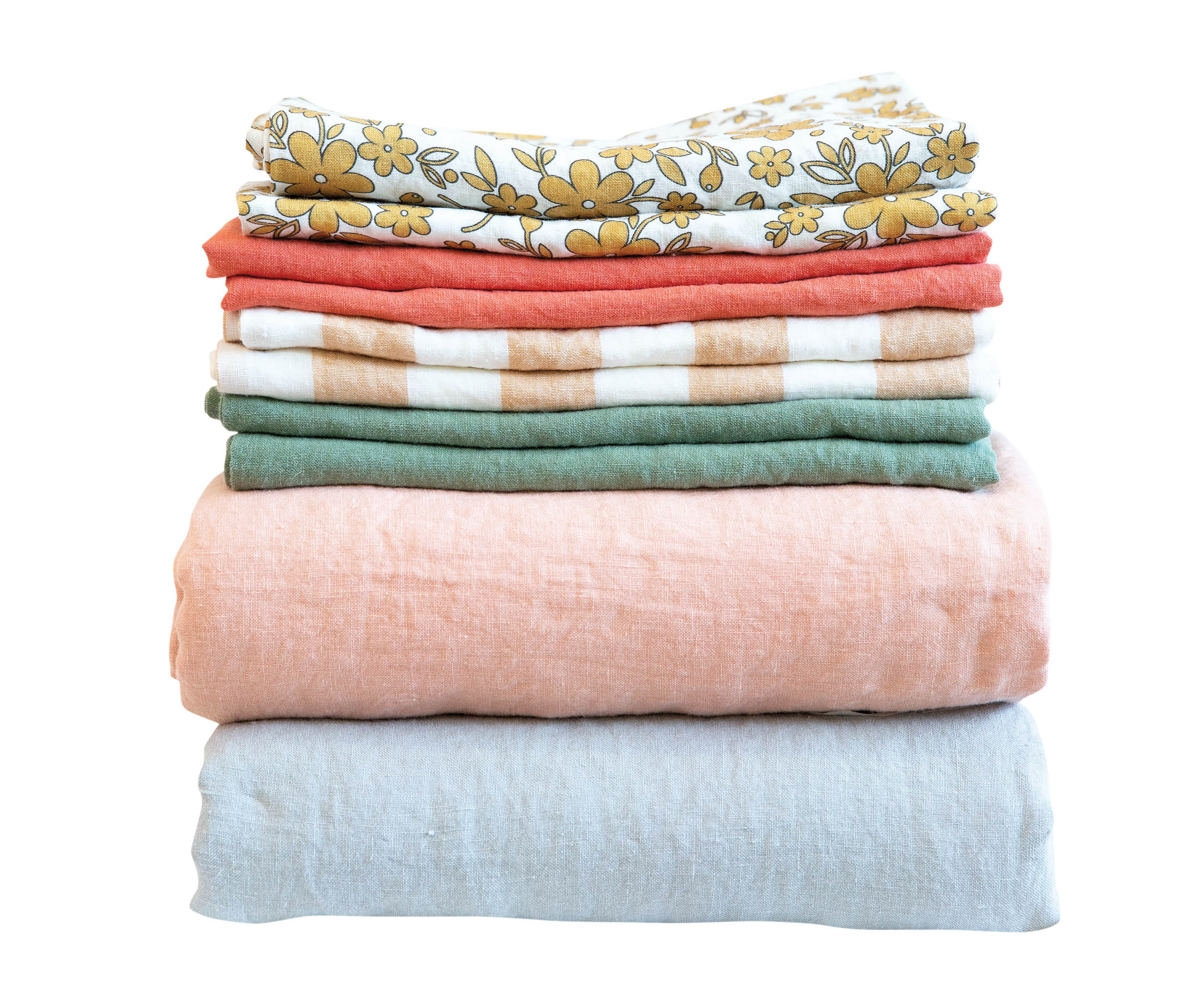 stack of colorful linens