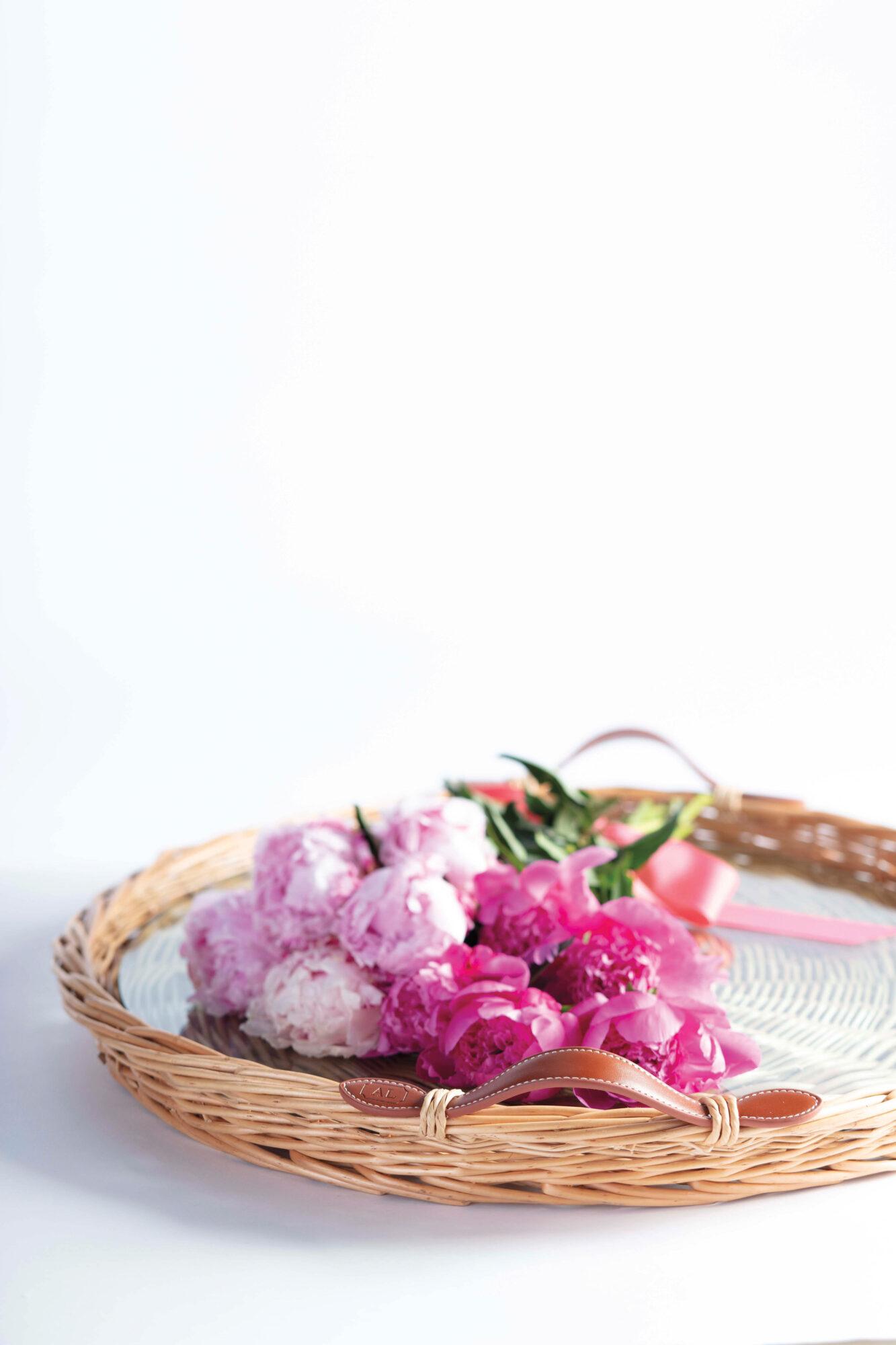 pink flowers in basket