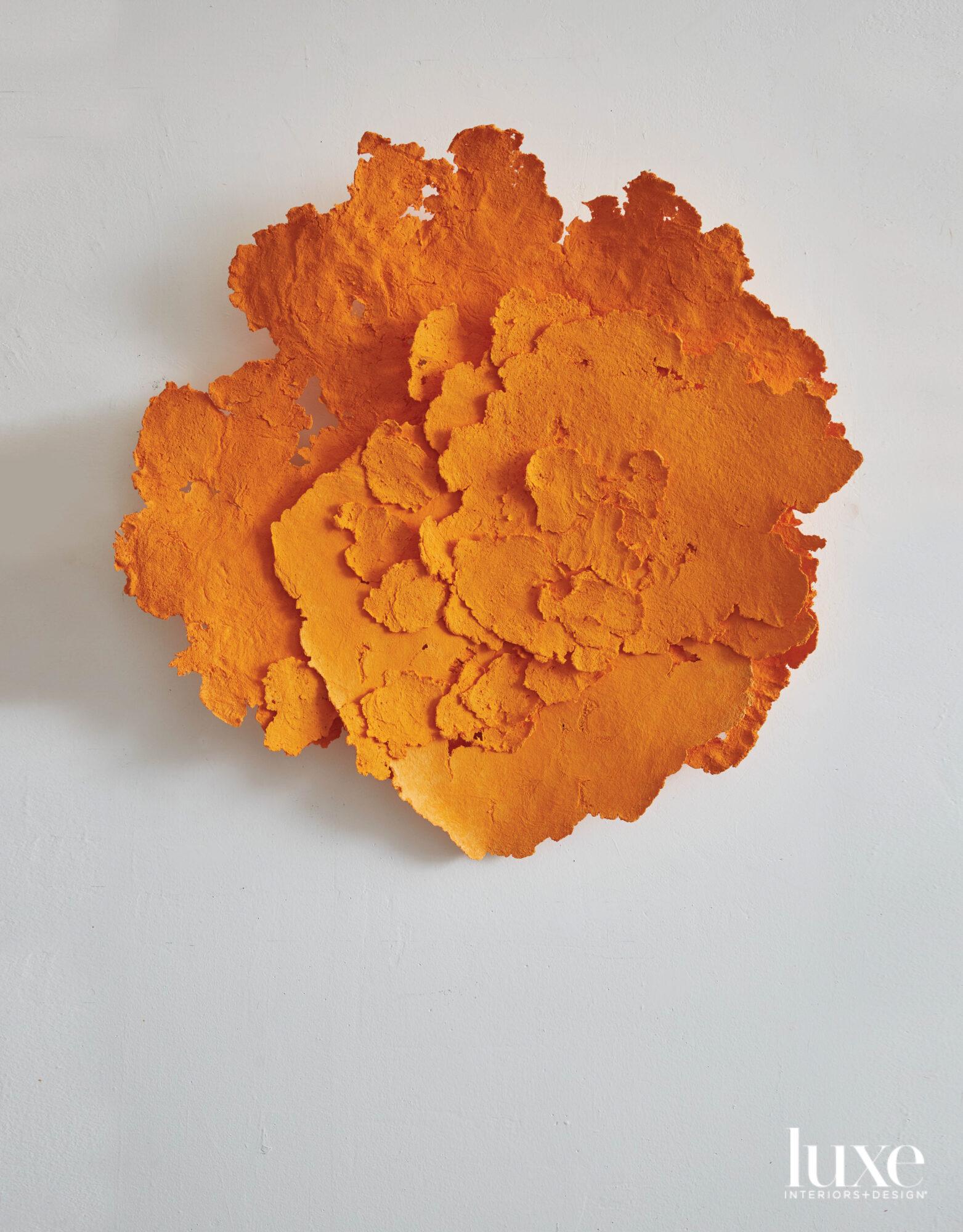 orange textured mixed media