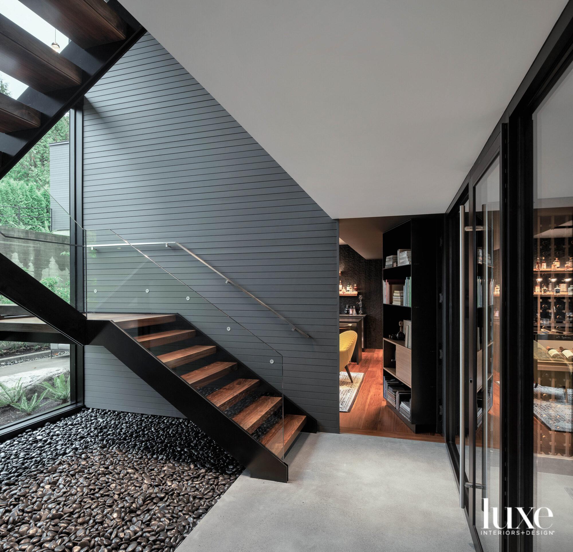 Stairway with hidden doorway detail