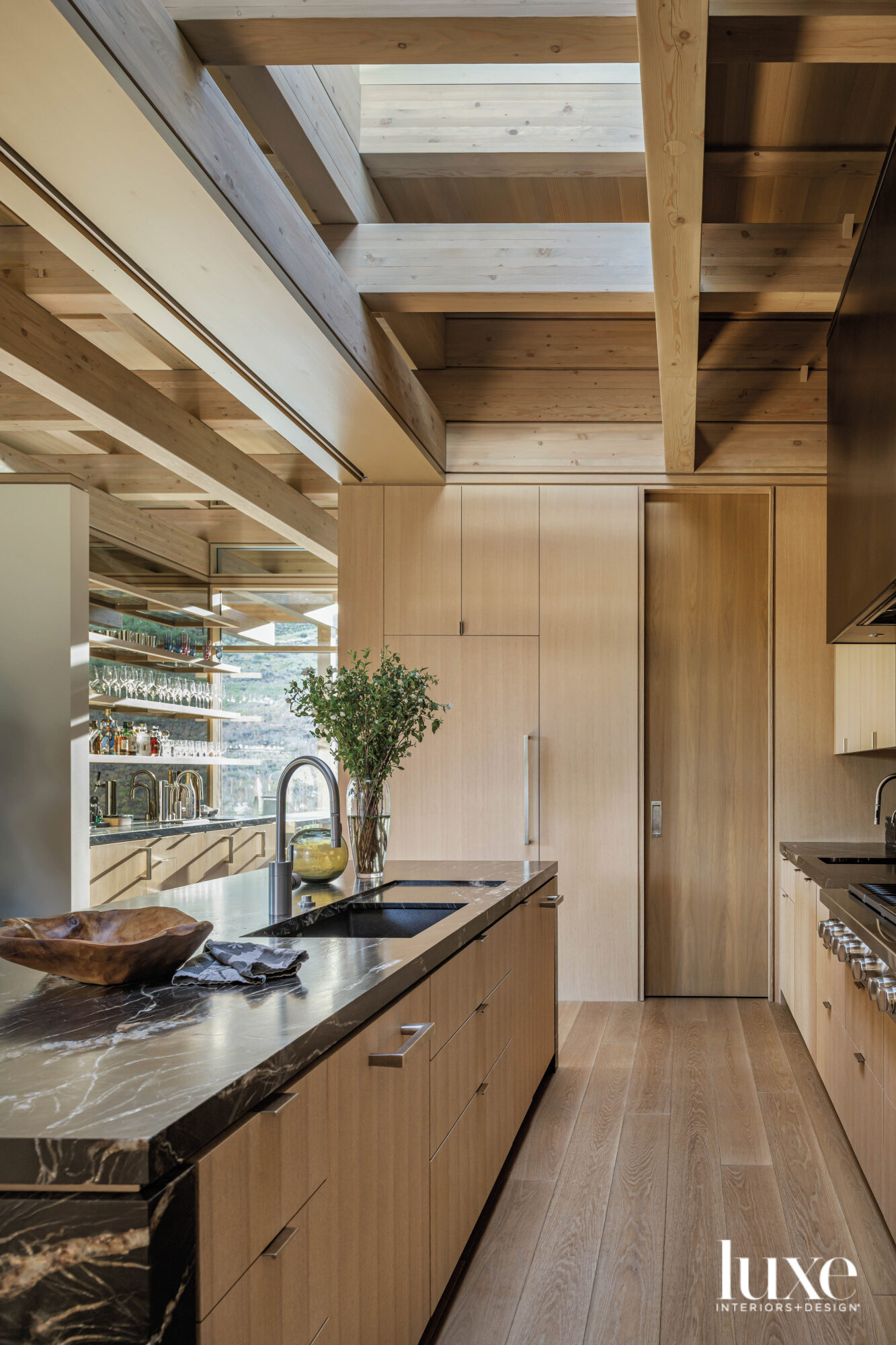 Detail of kitchen island with...