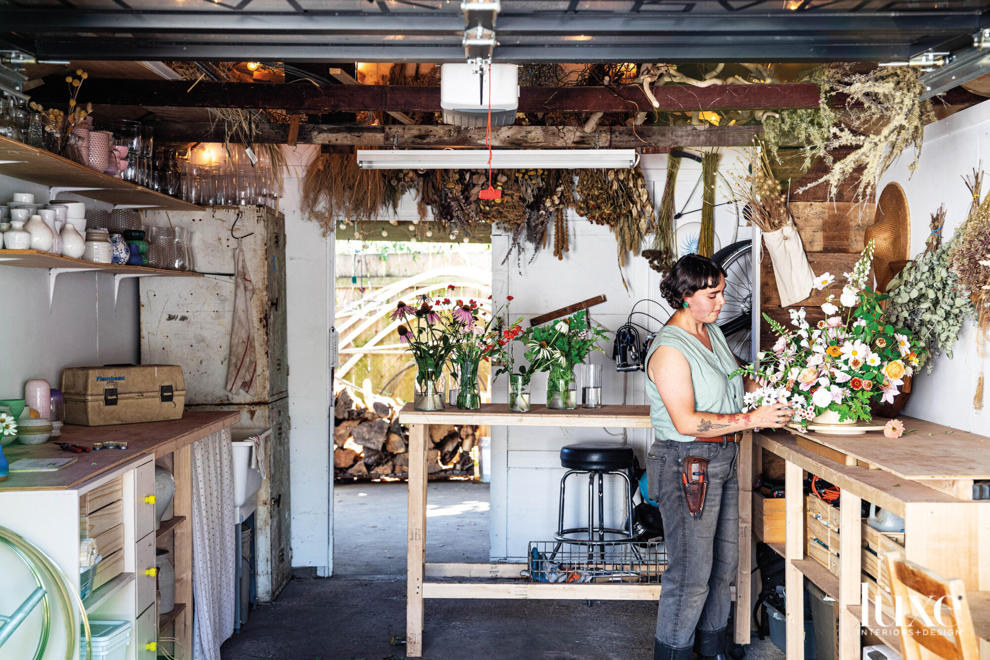 Arielle Zamora in her backyard floral studio