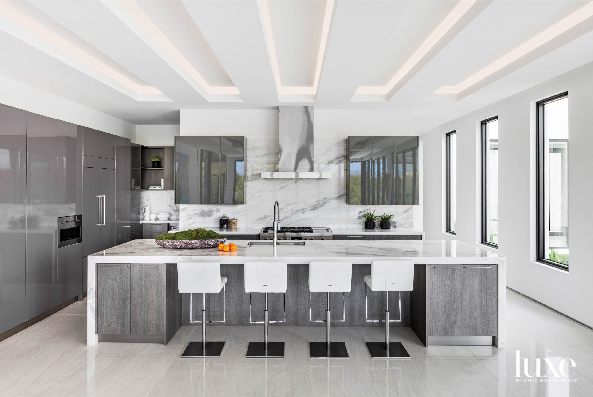 modern kitchen with white walls,...