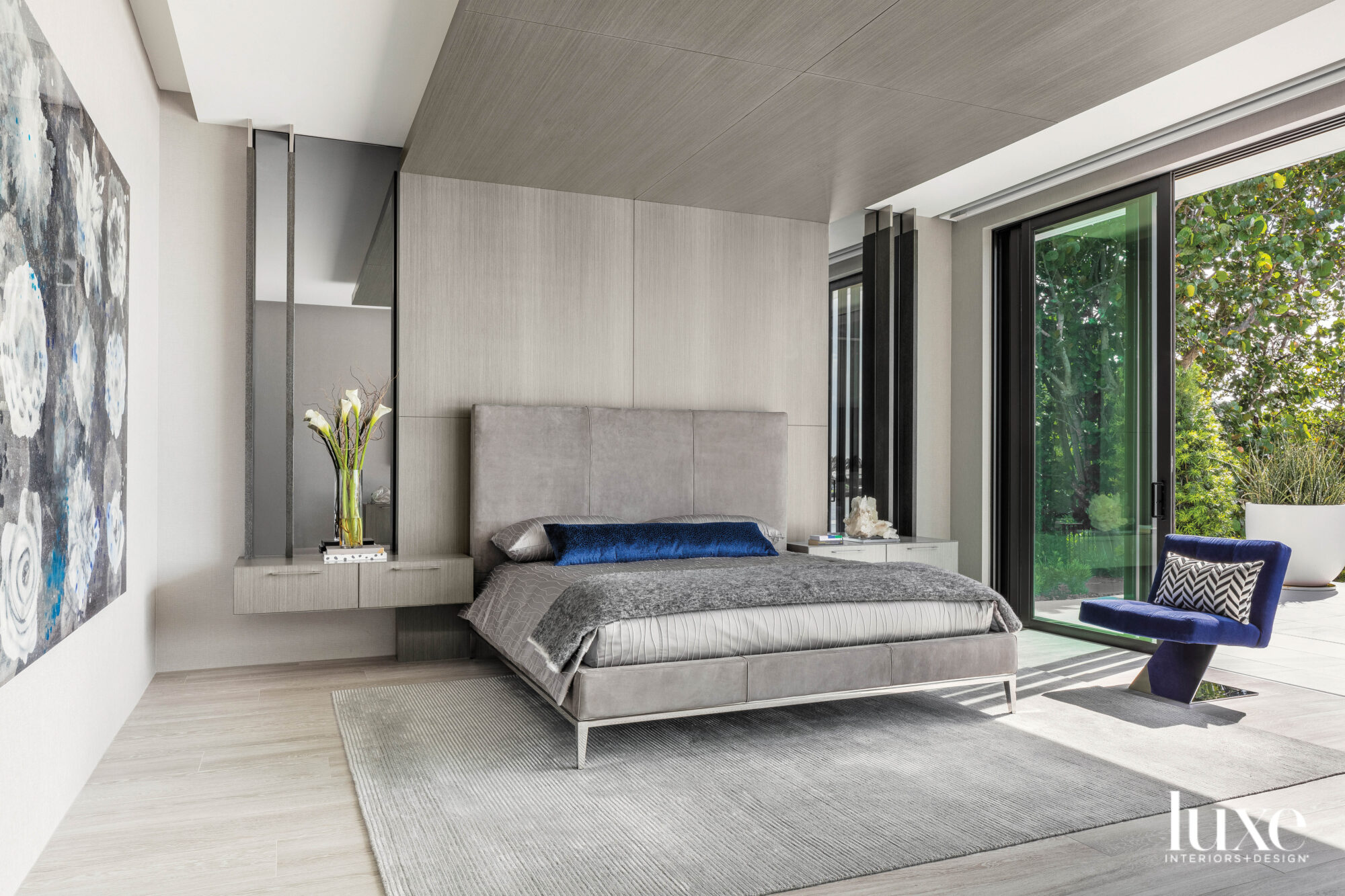 contemporary bedroom with headboard wall...