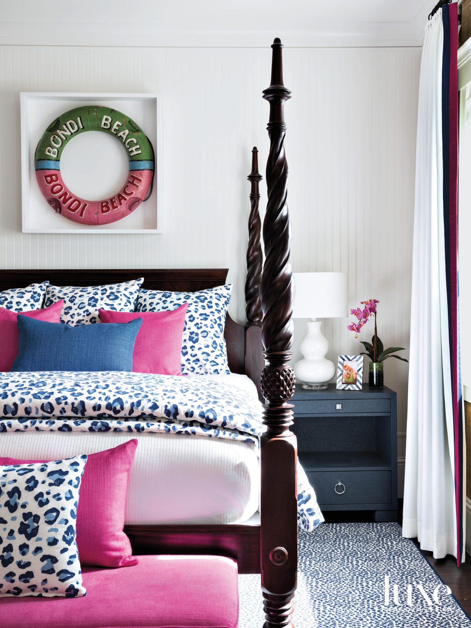 pink and blue bedroom with...