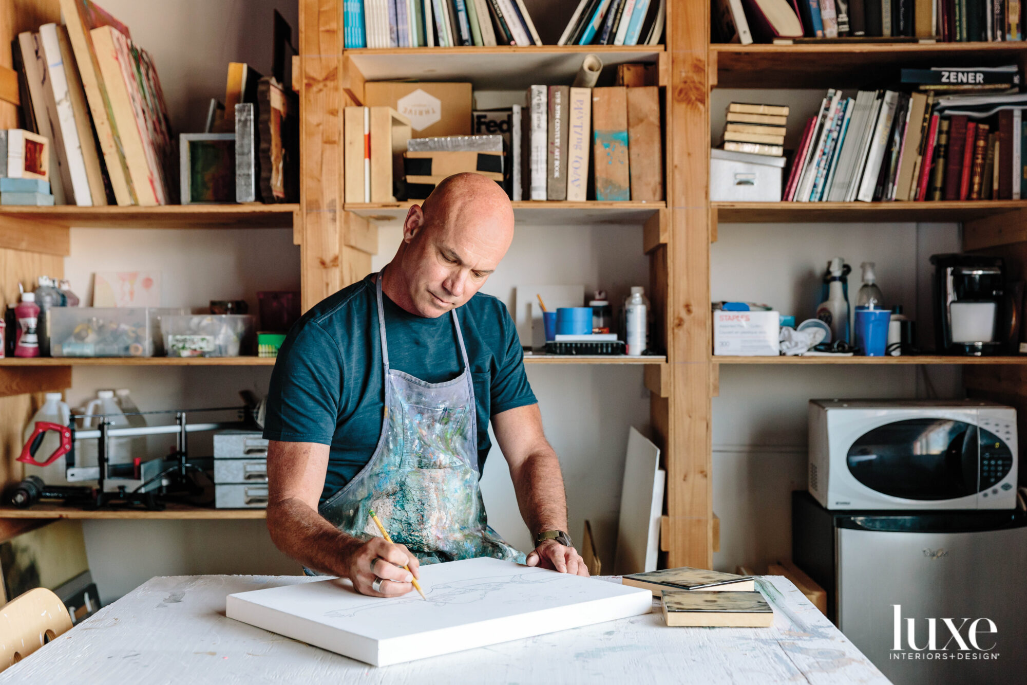 Artist Eric Zener works in his Bay Area Studio.