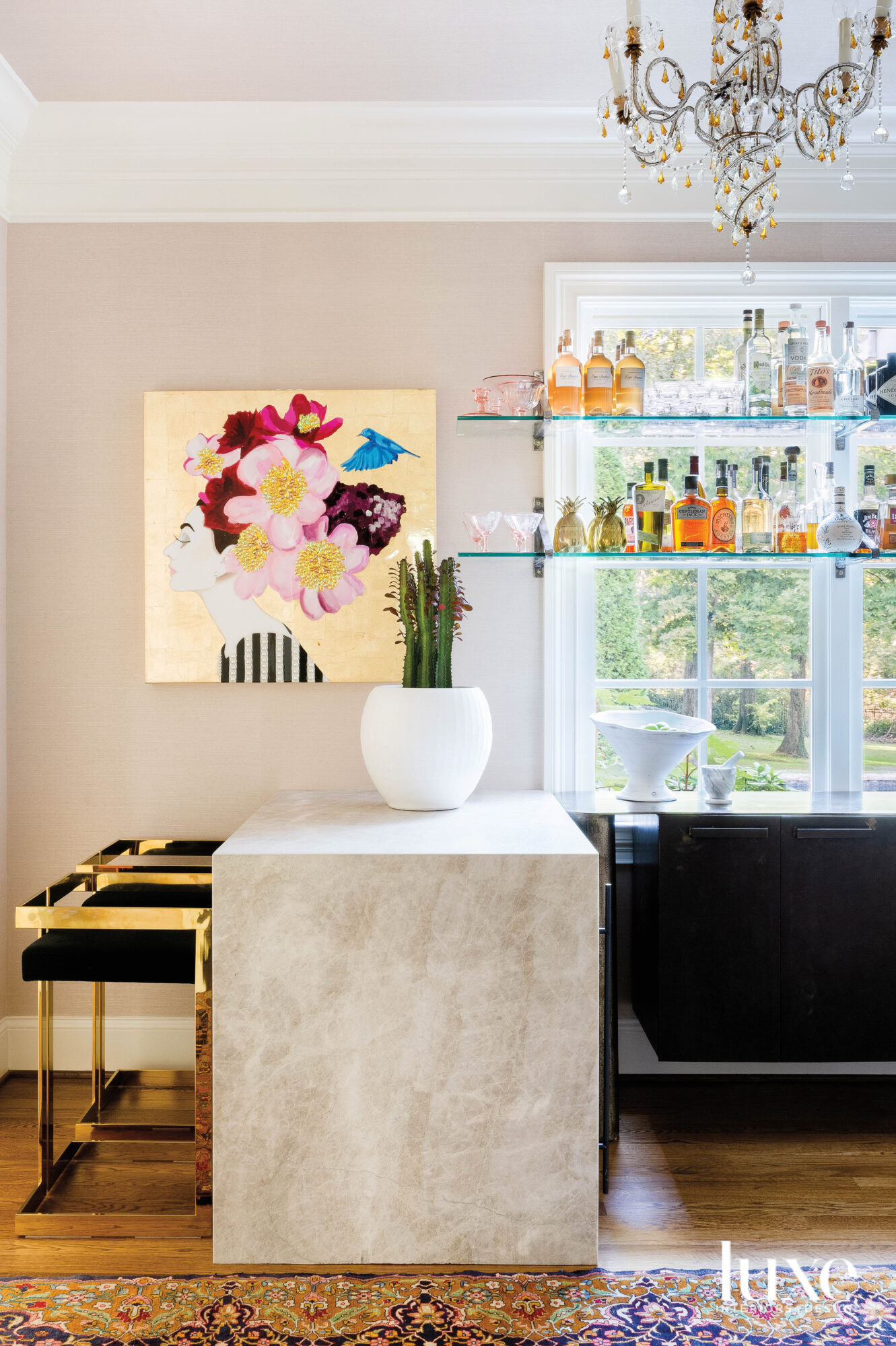 Bar with countertop, black stools,...