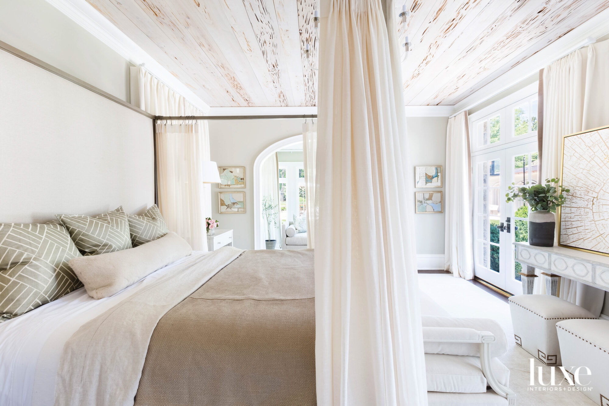 Canopy bed with panels and...