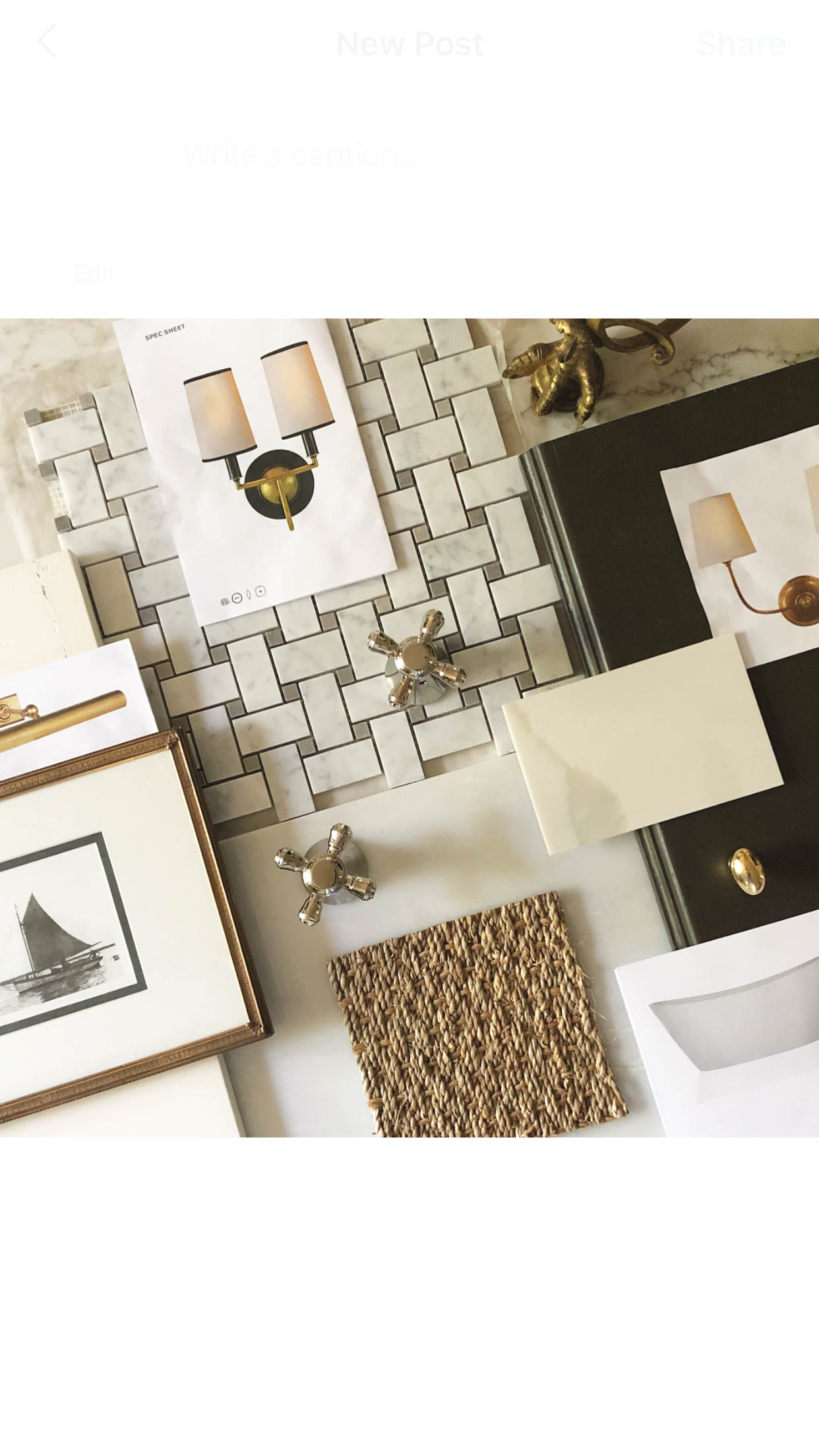 swatches of tile samples and other accessories