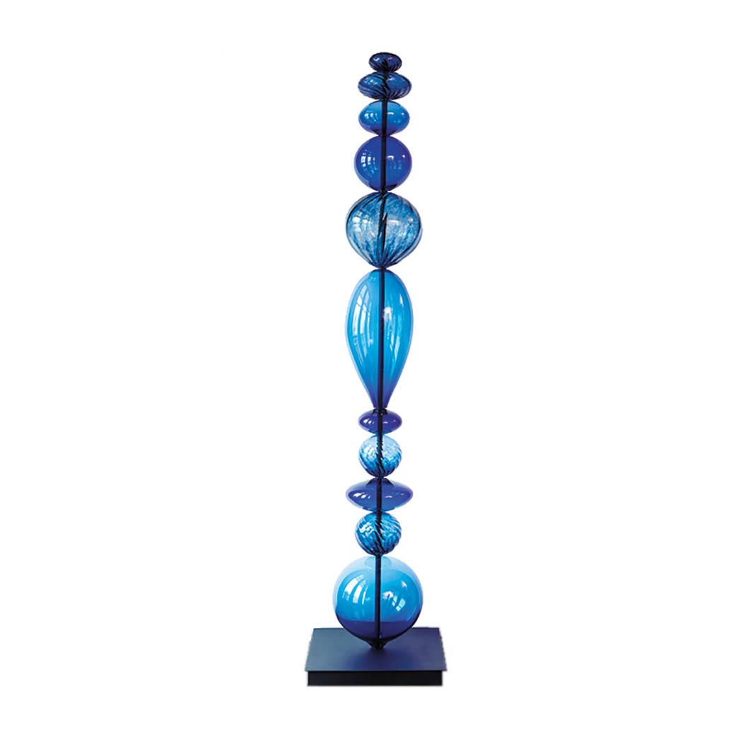 tall blue sculpture