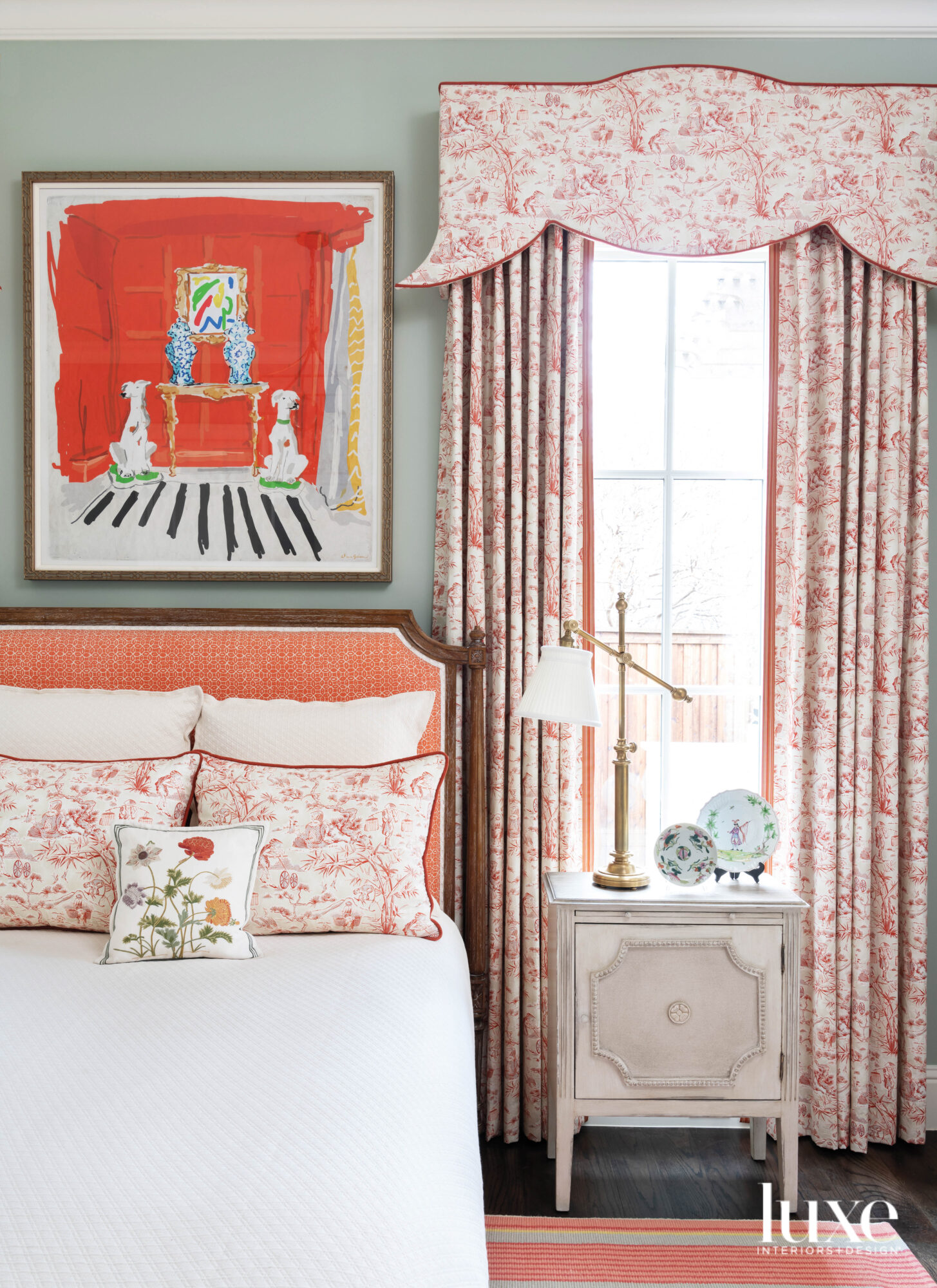 Guest bedroom with a cheery...