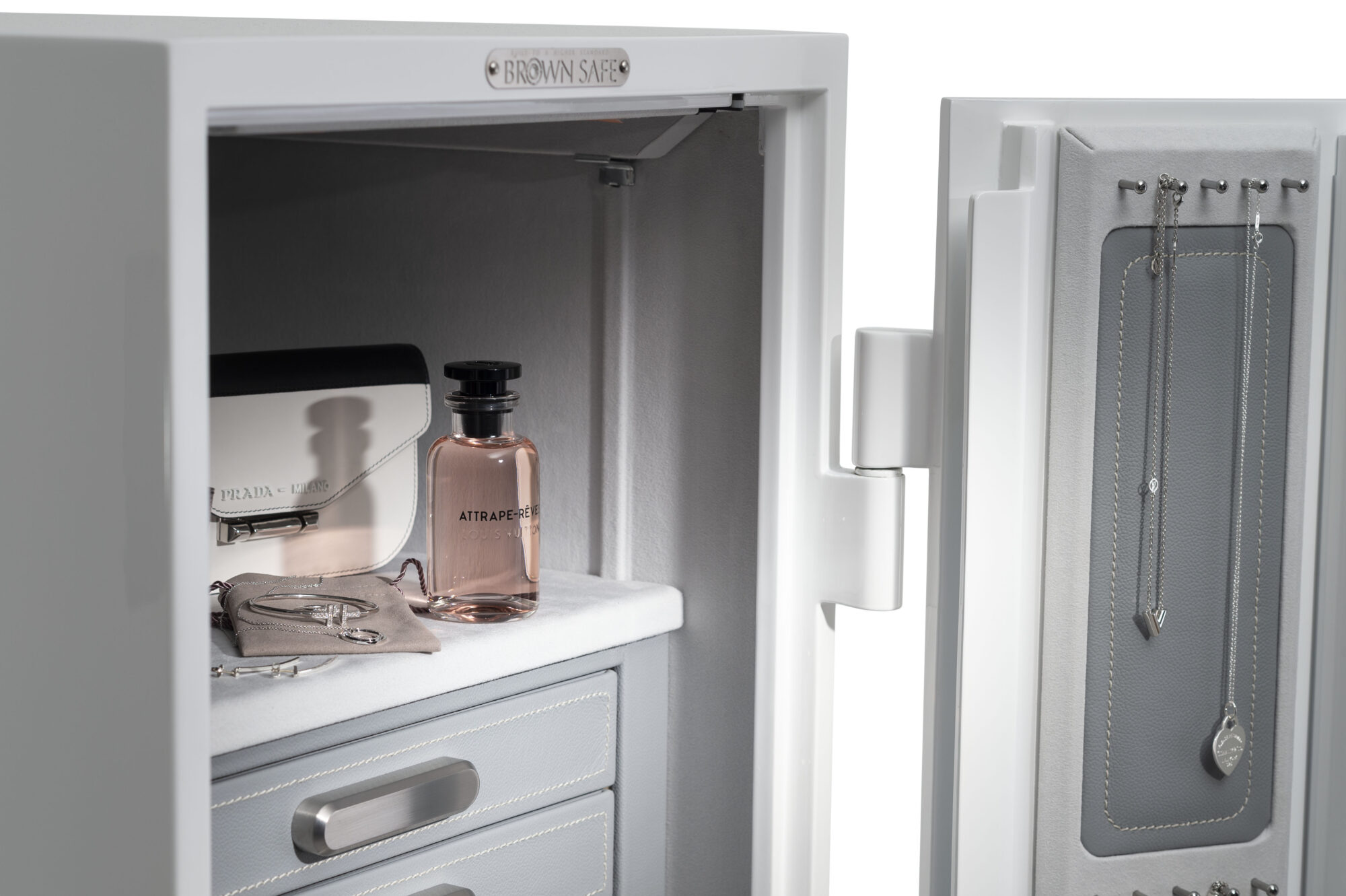 jewelry drawers closed with perfume