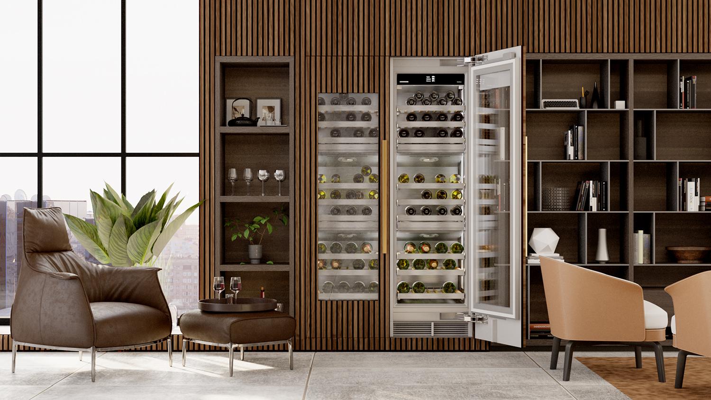 wine fridge brown chairs