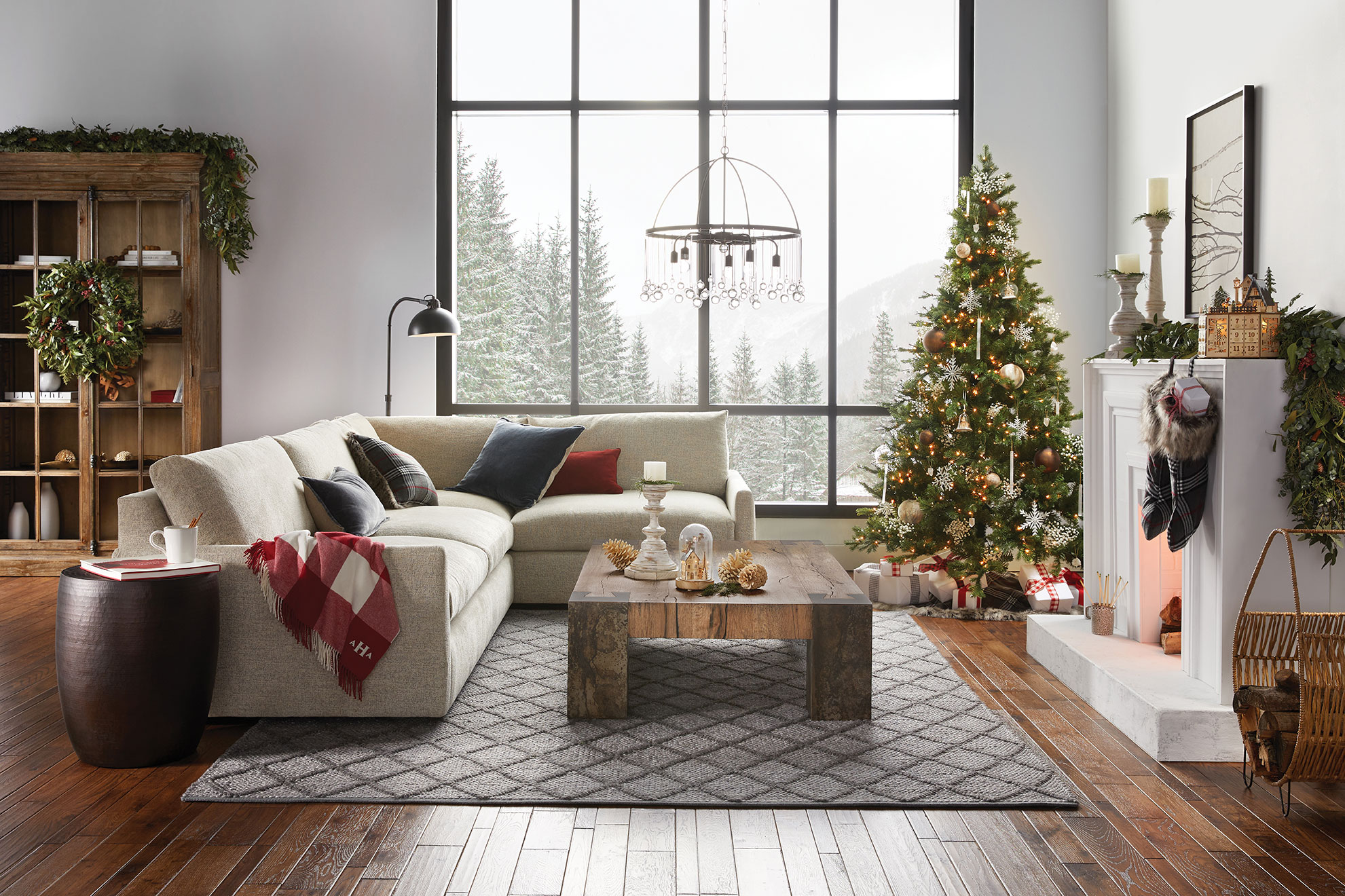 arhaus couch christmas tree fireplace