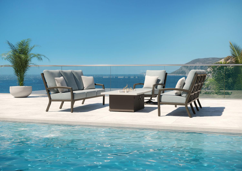 pool overlooking ocean outdoor couch