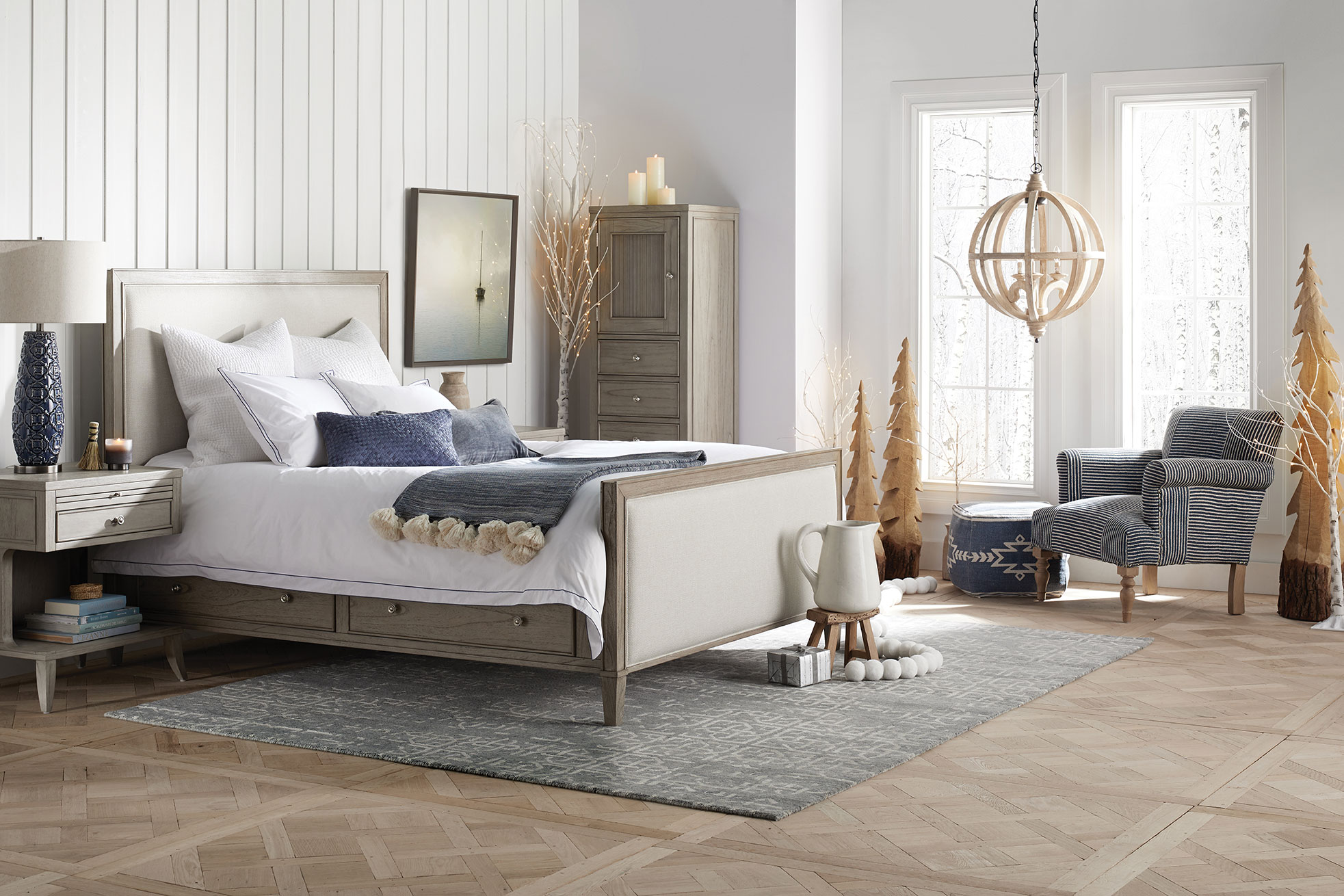 arhaus bed white walls