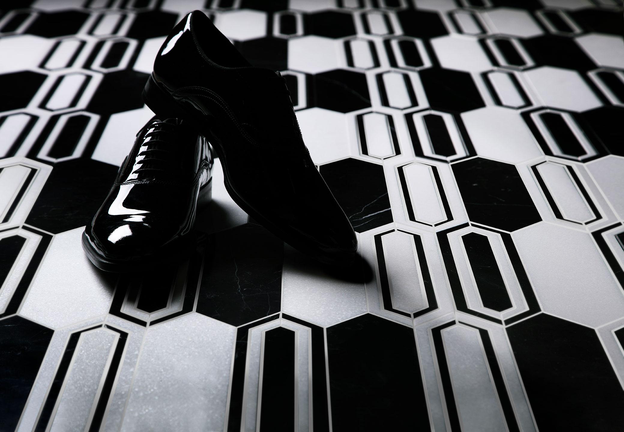 tuxedo shoes black white tile