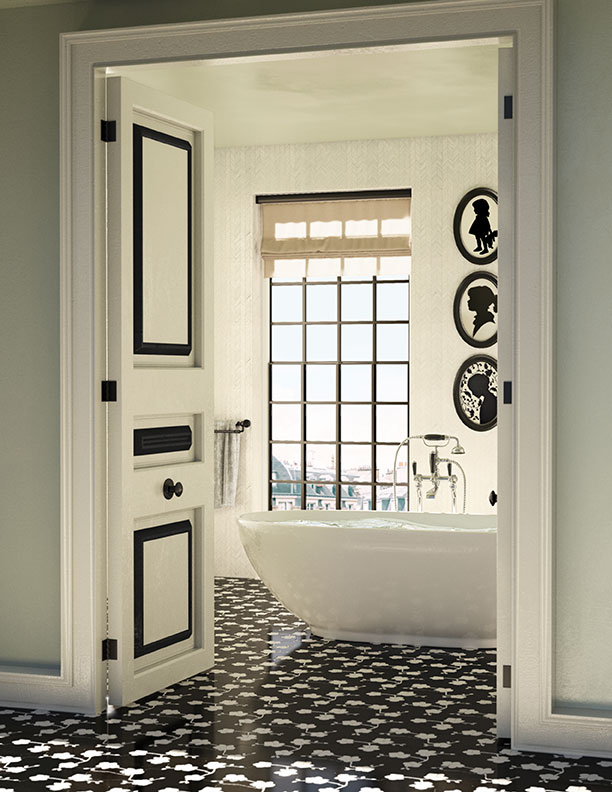bathroom black and white accents tile