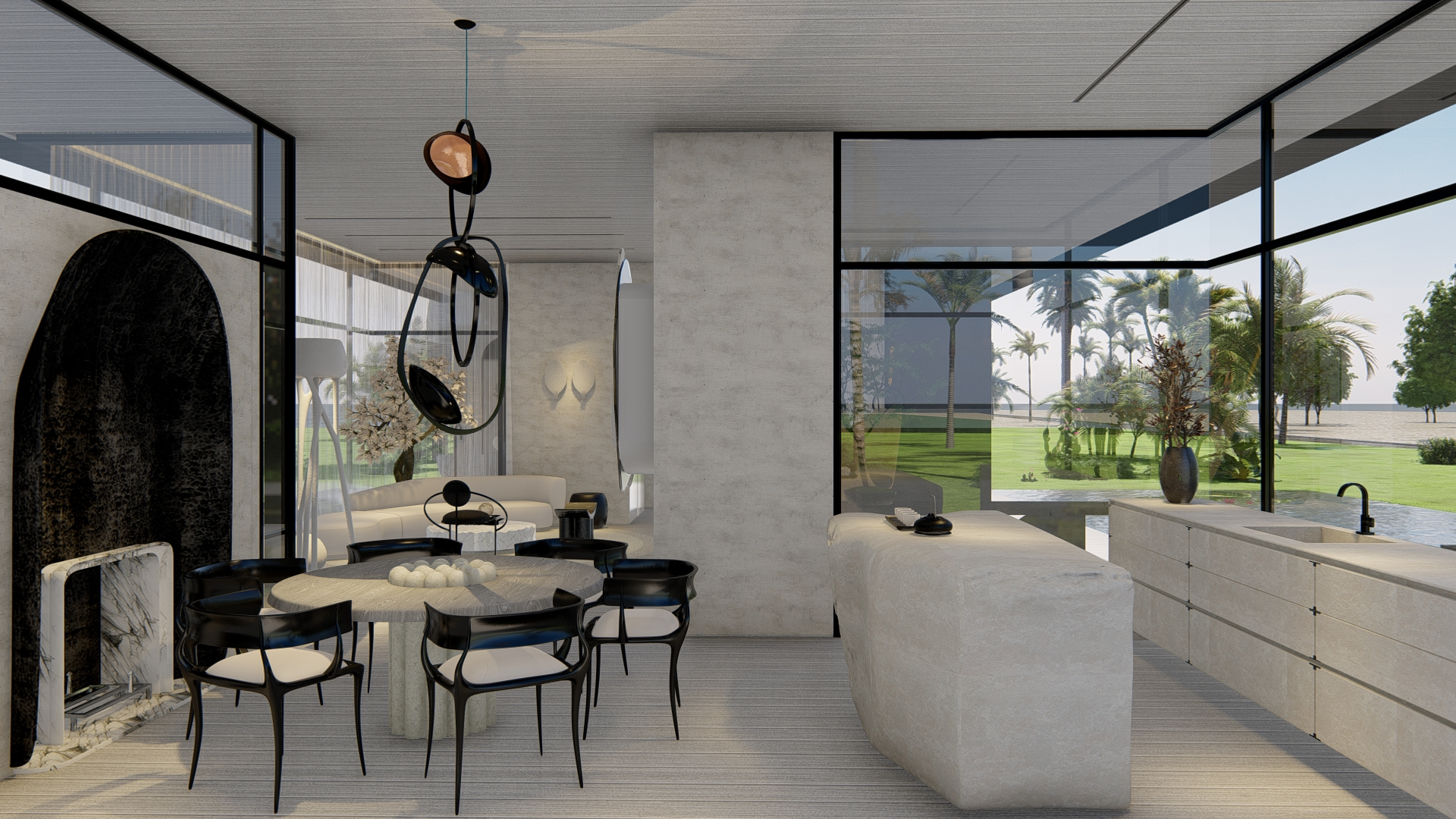 rendering of minimalistic kitchen and dining area