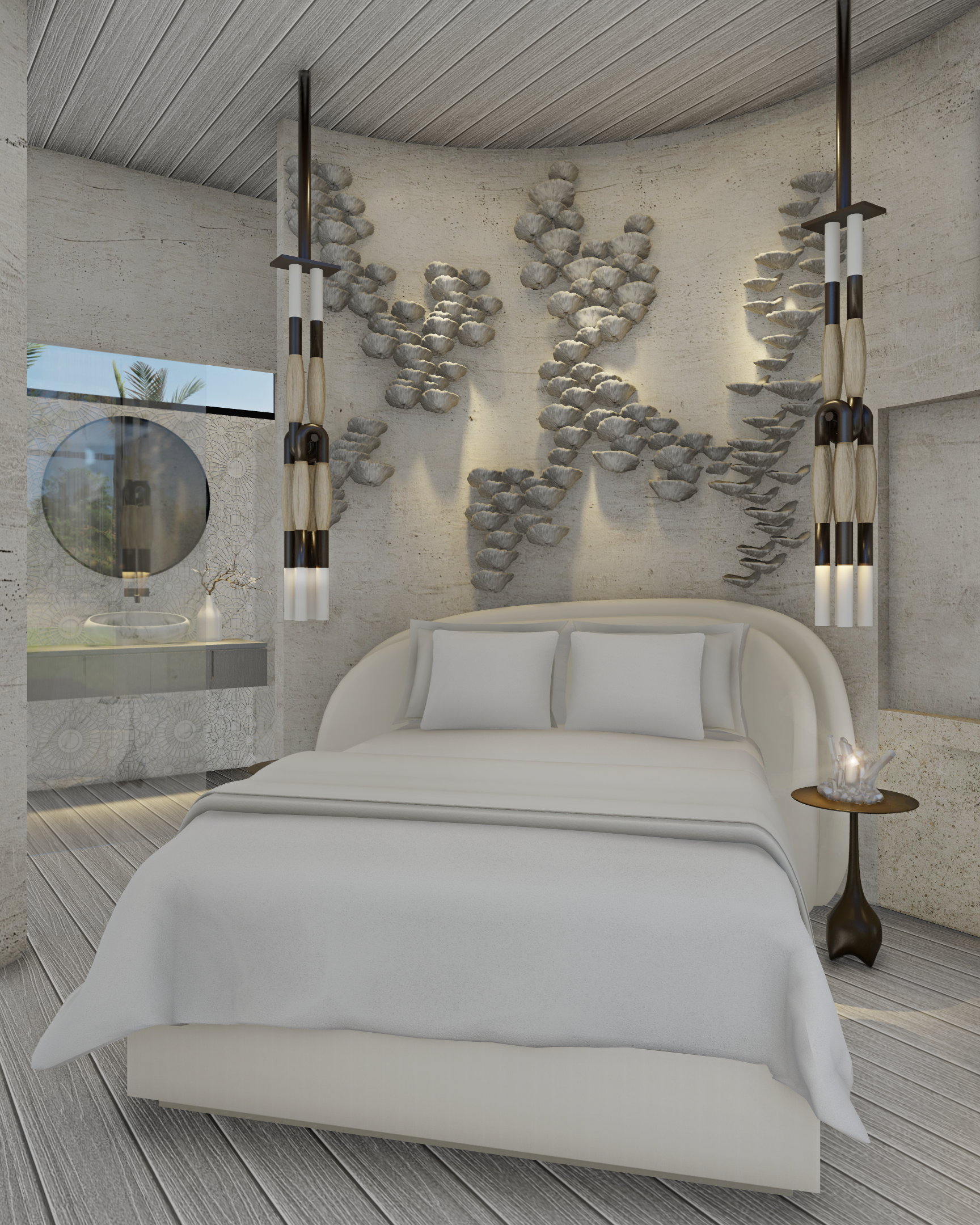 rendering of white bedroom with round bed