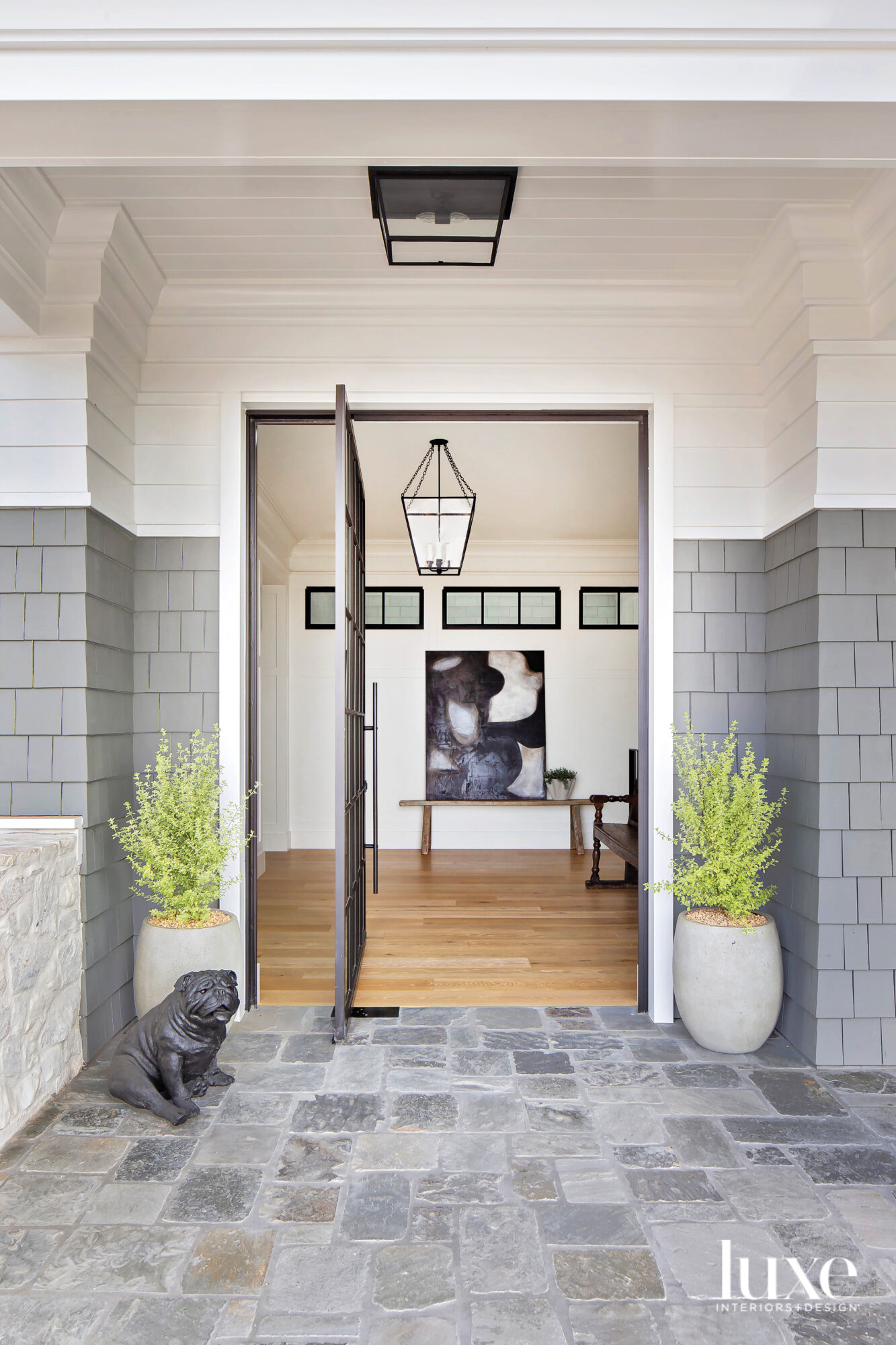 Entry door with small dog...