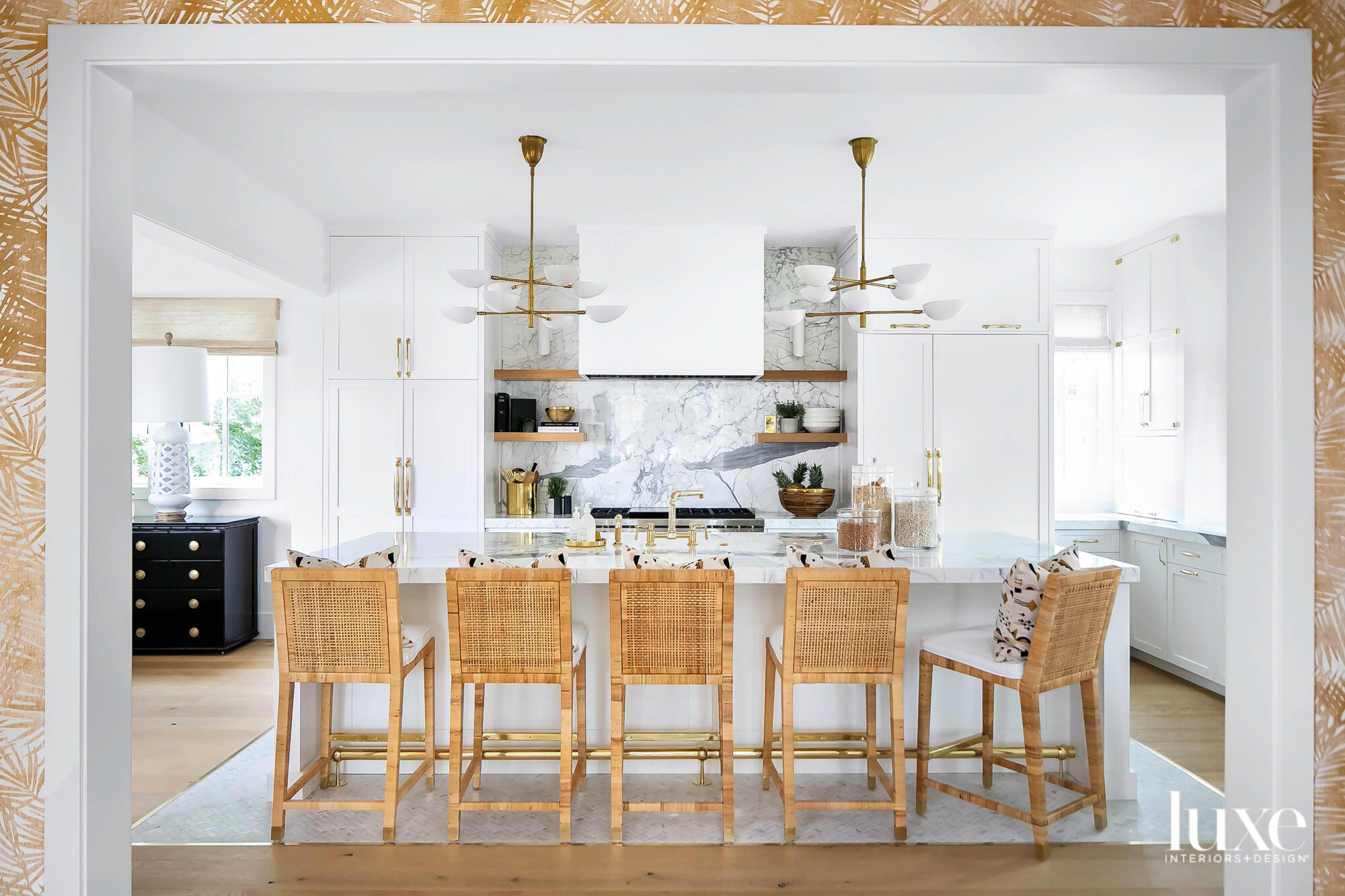 Kitchen island with row of...