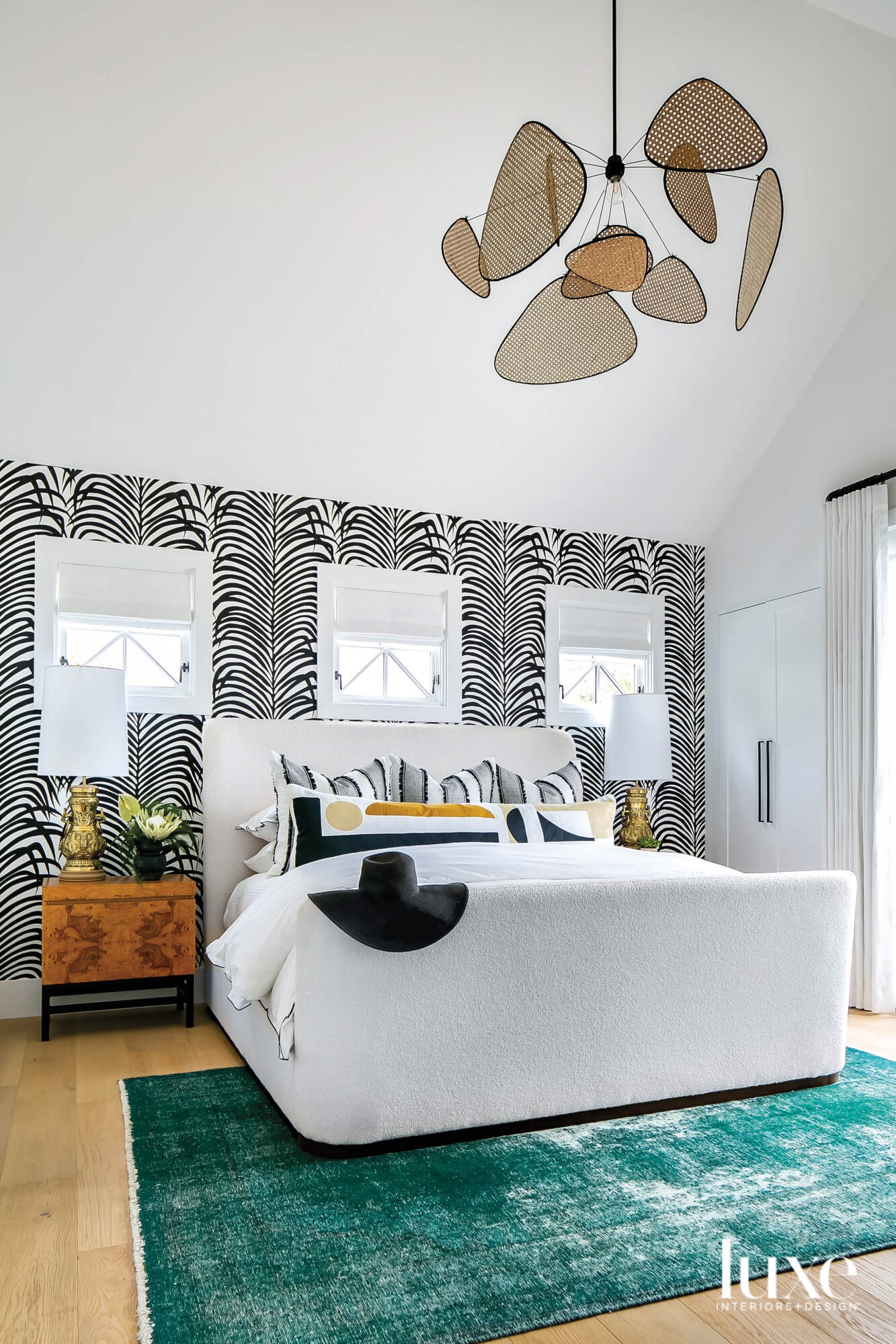 Bed with zebra palm pattern...