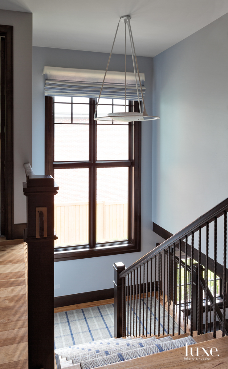 stairwell with hickory flooring