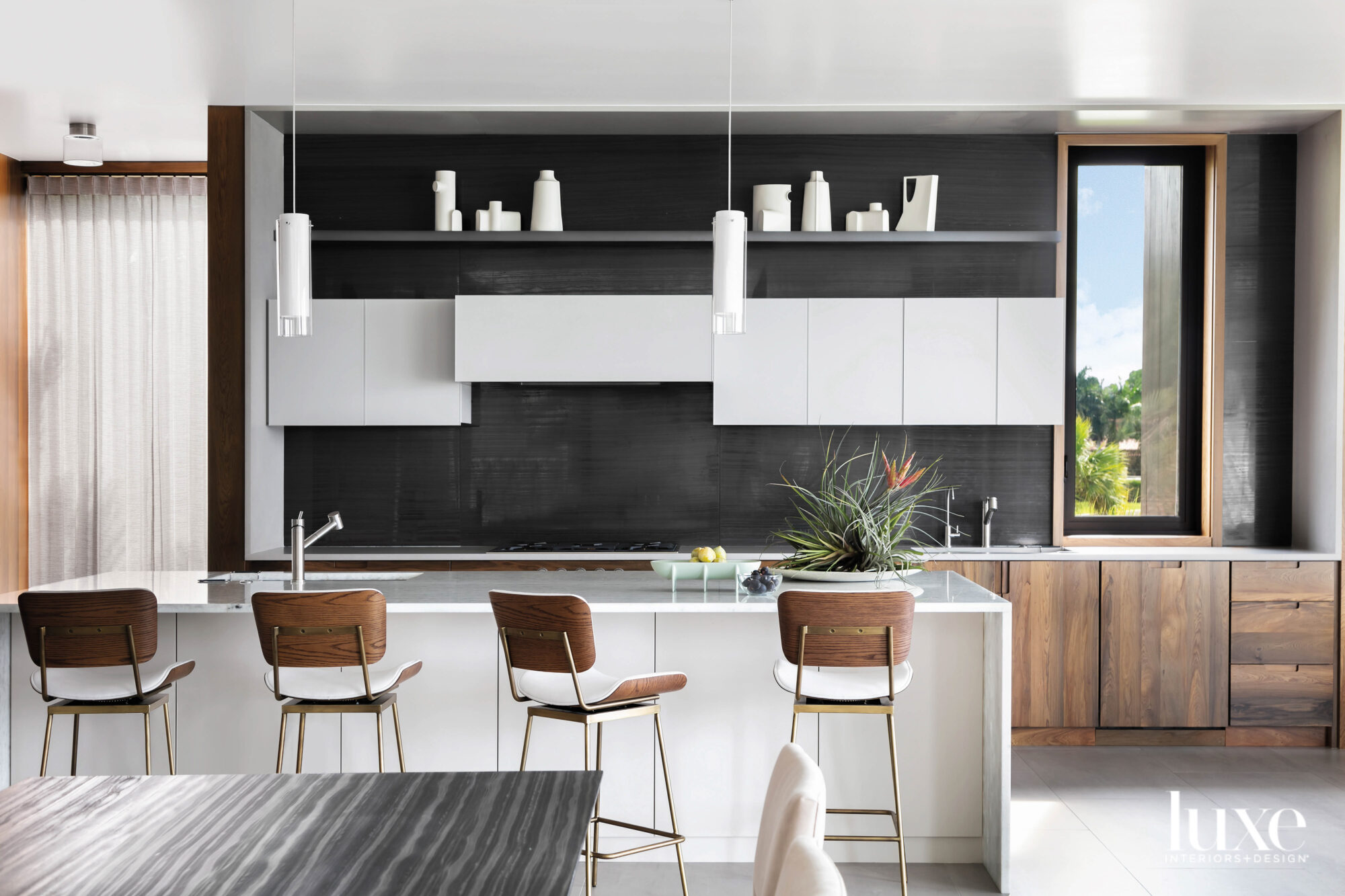 Kitchen with frosted-glass and cypress-veneer...