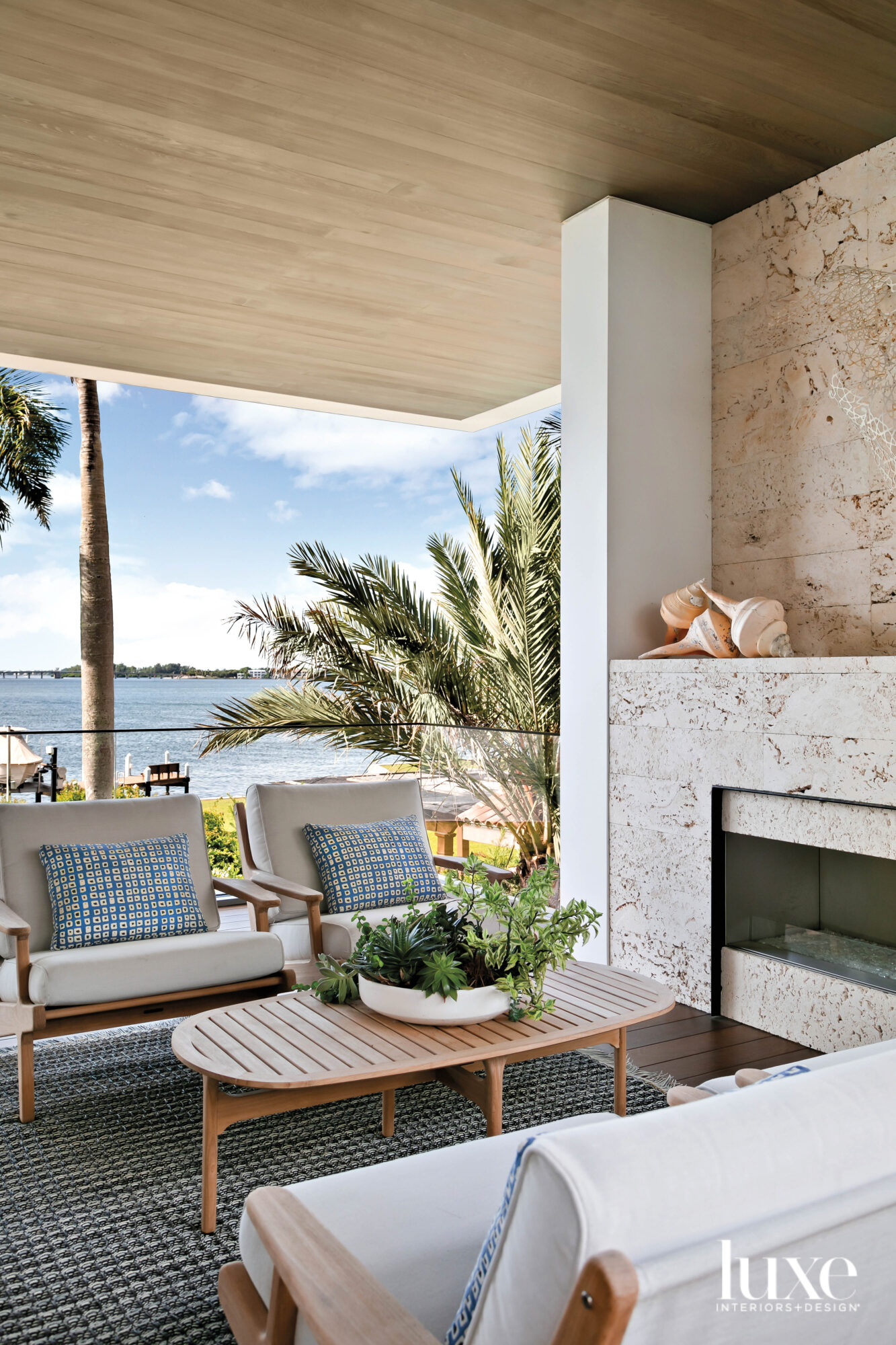 Outdoor seating area with coral...