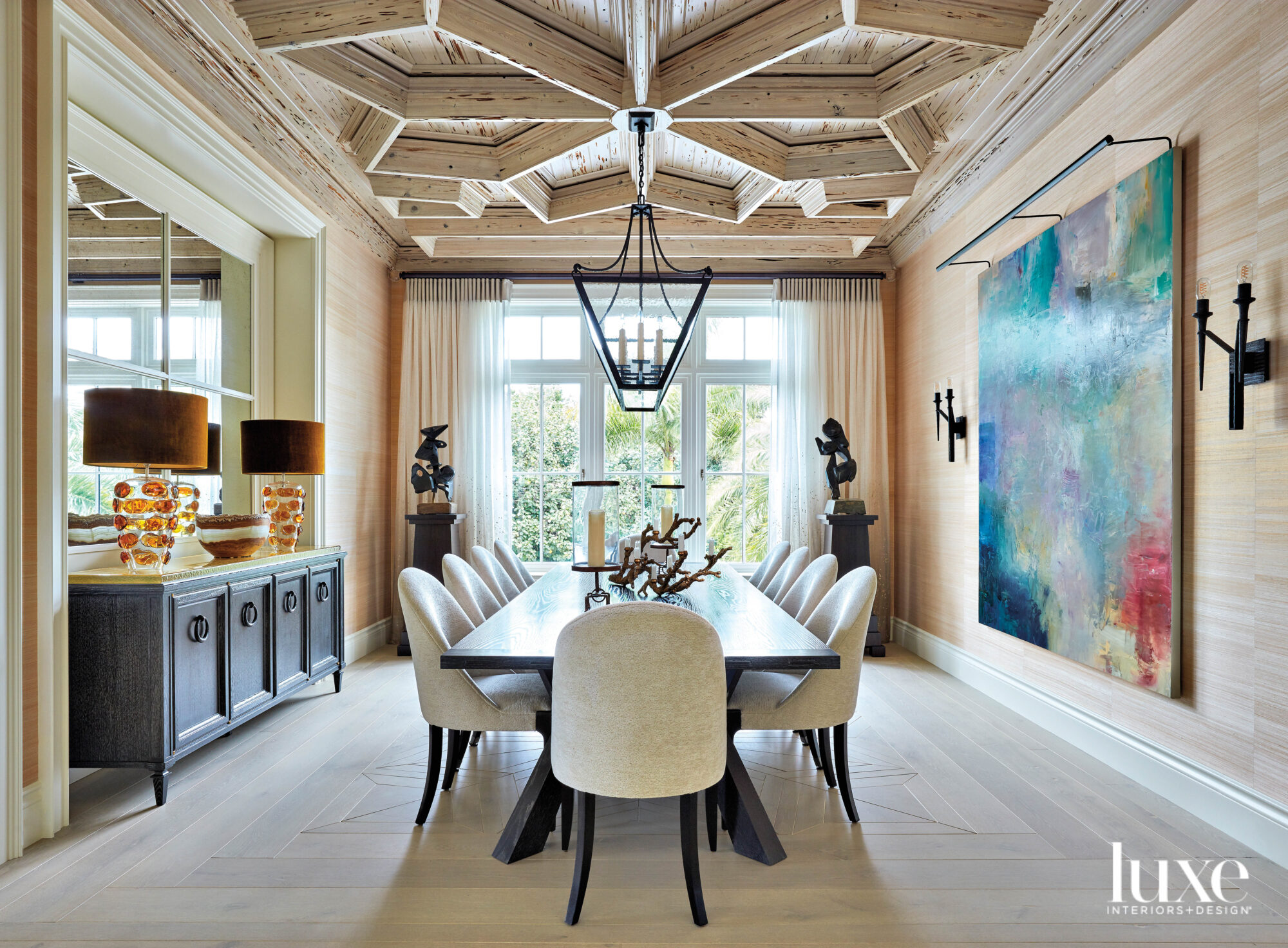 Dining room with detailed cypress ceiling