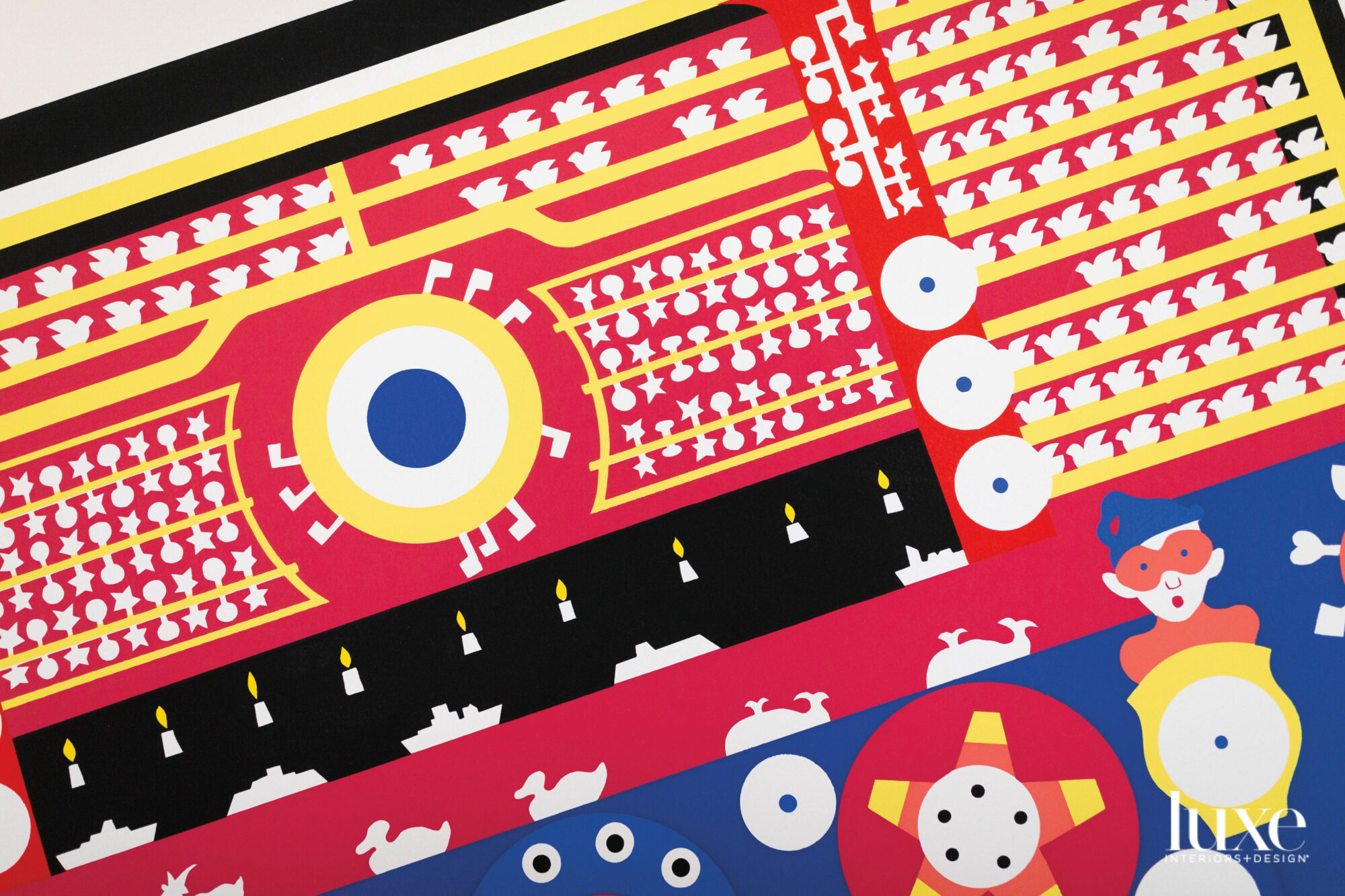 Bright red, blue and yellow shooting gallery-inspired artwork.