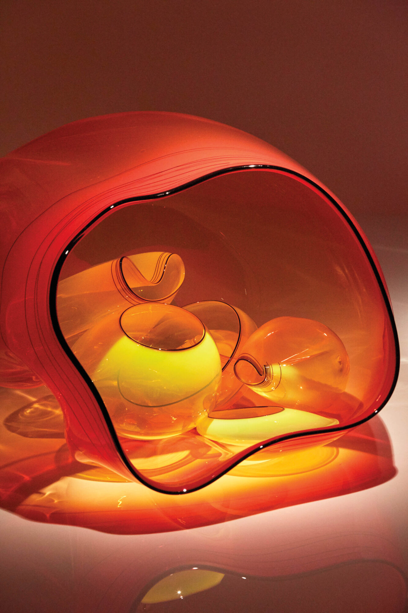 Orange glass art by Dale Chihuly