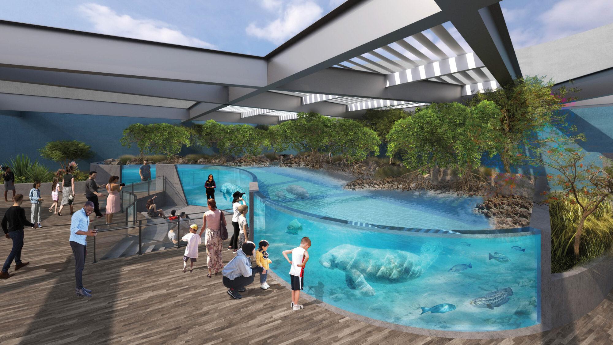 Rendering of an aquarium with manatees