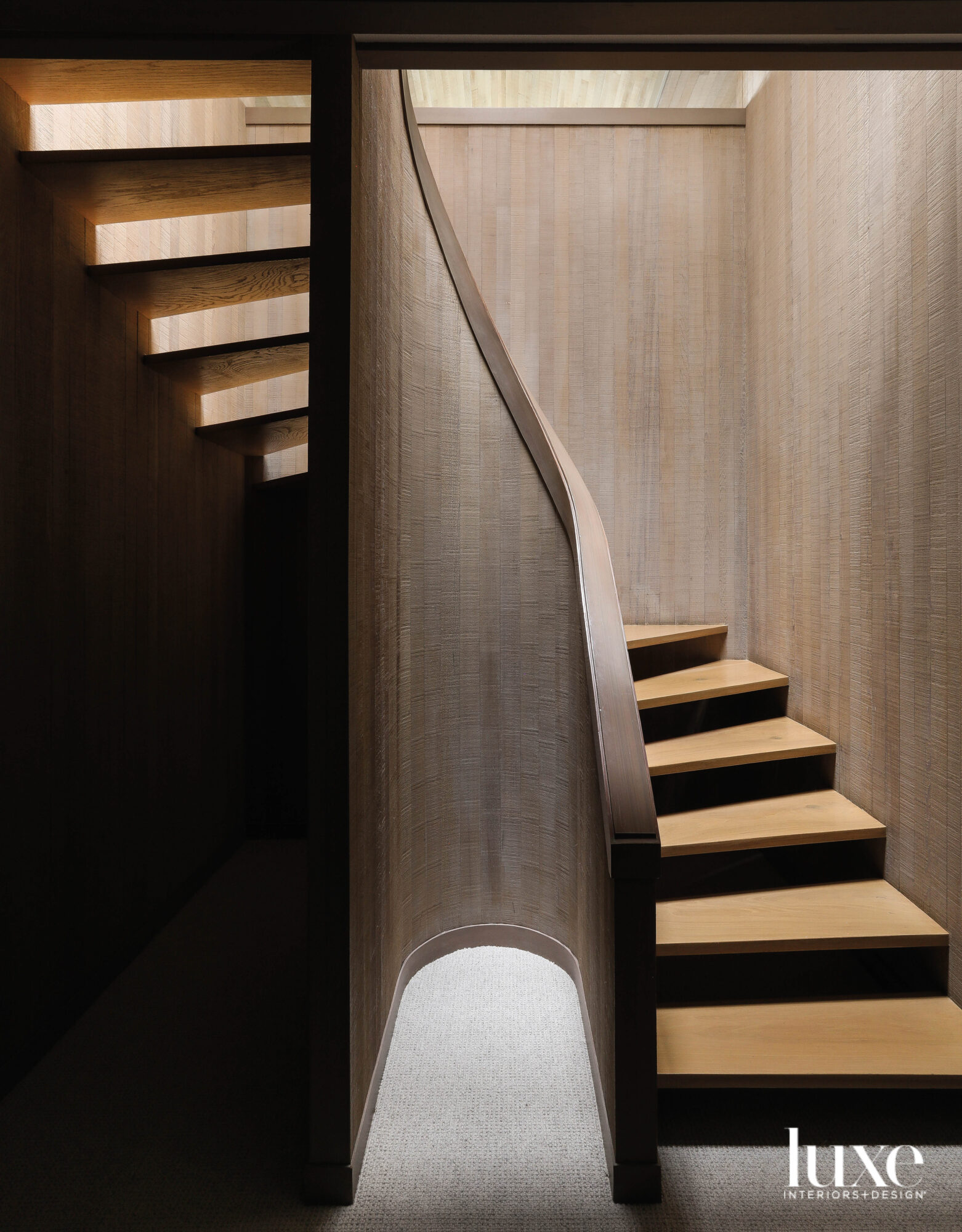Wood paneled stairwell