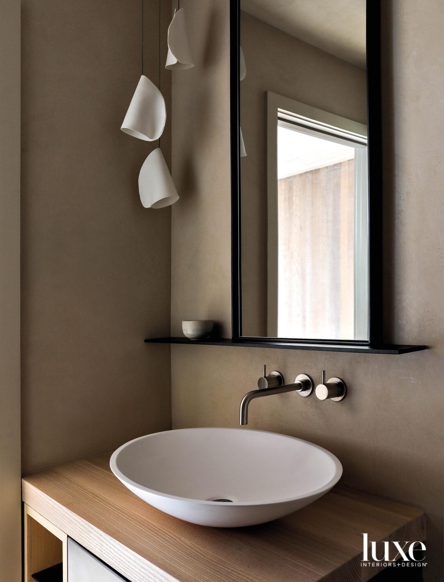 Detail of powder room vanity