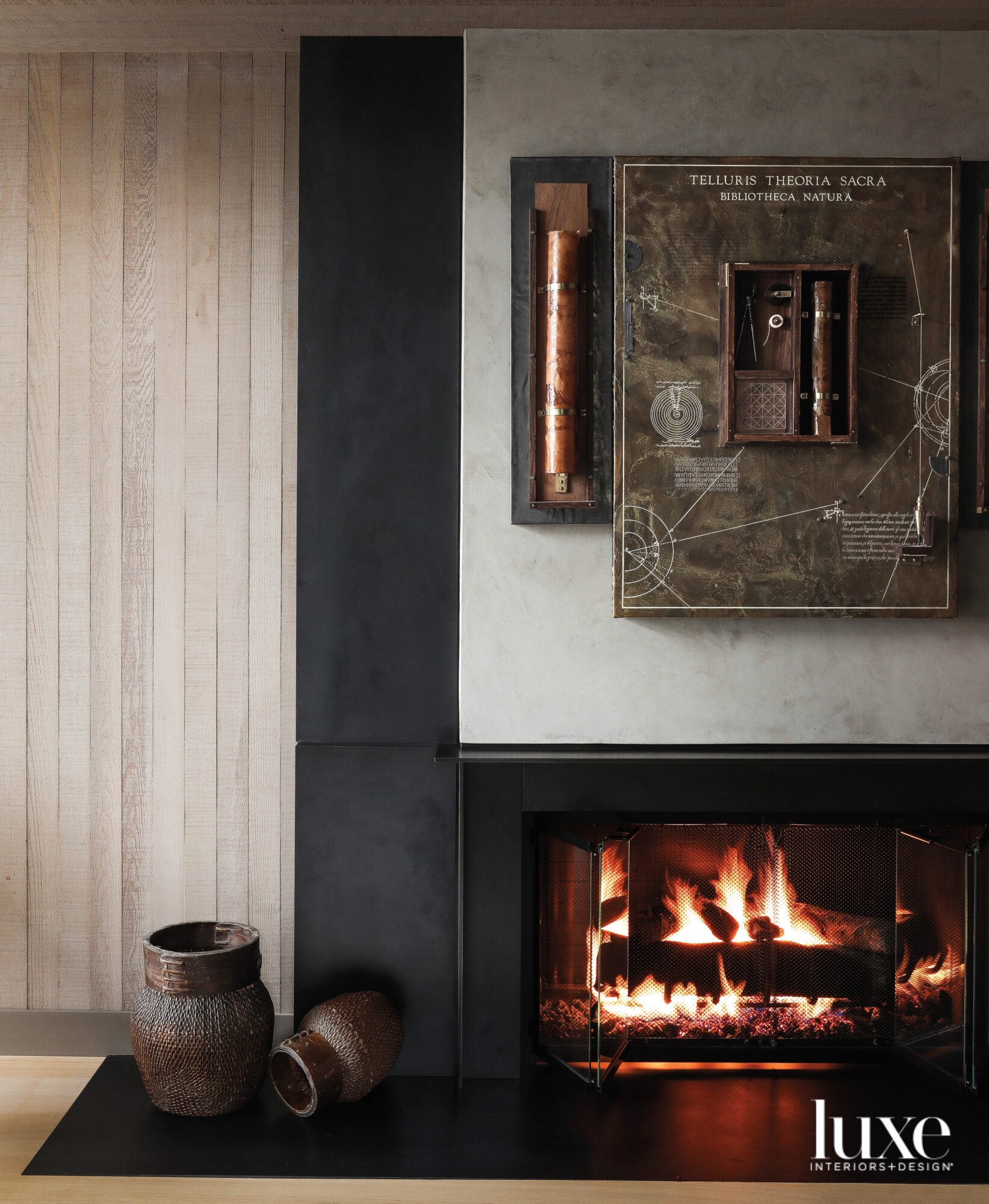Detail of fireplace and art...
