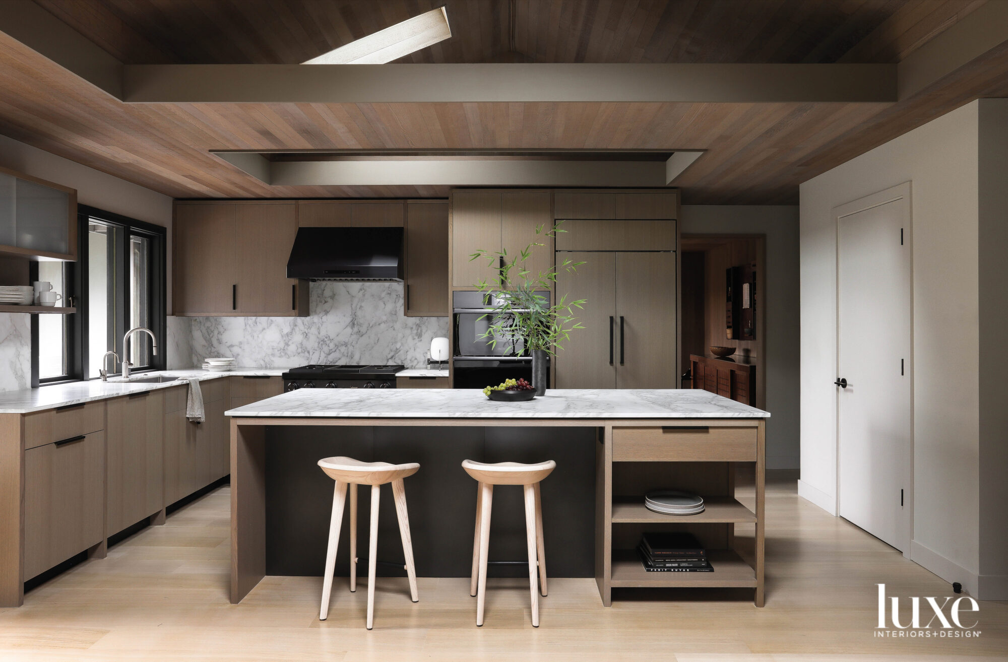 Kitchen island with two barstools