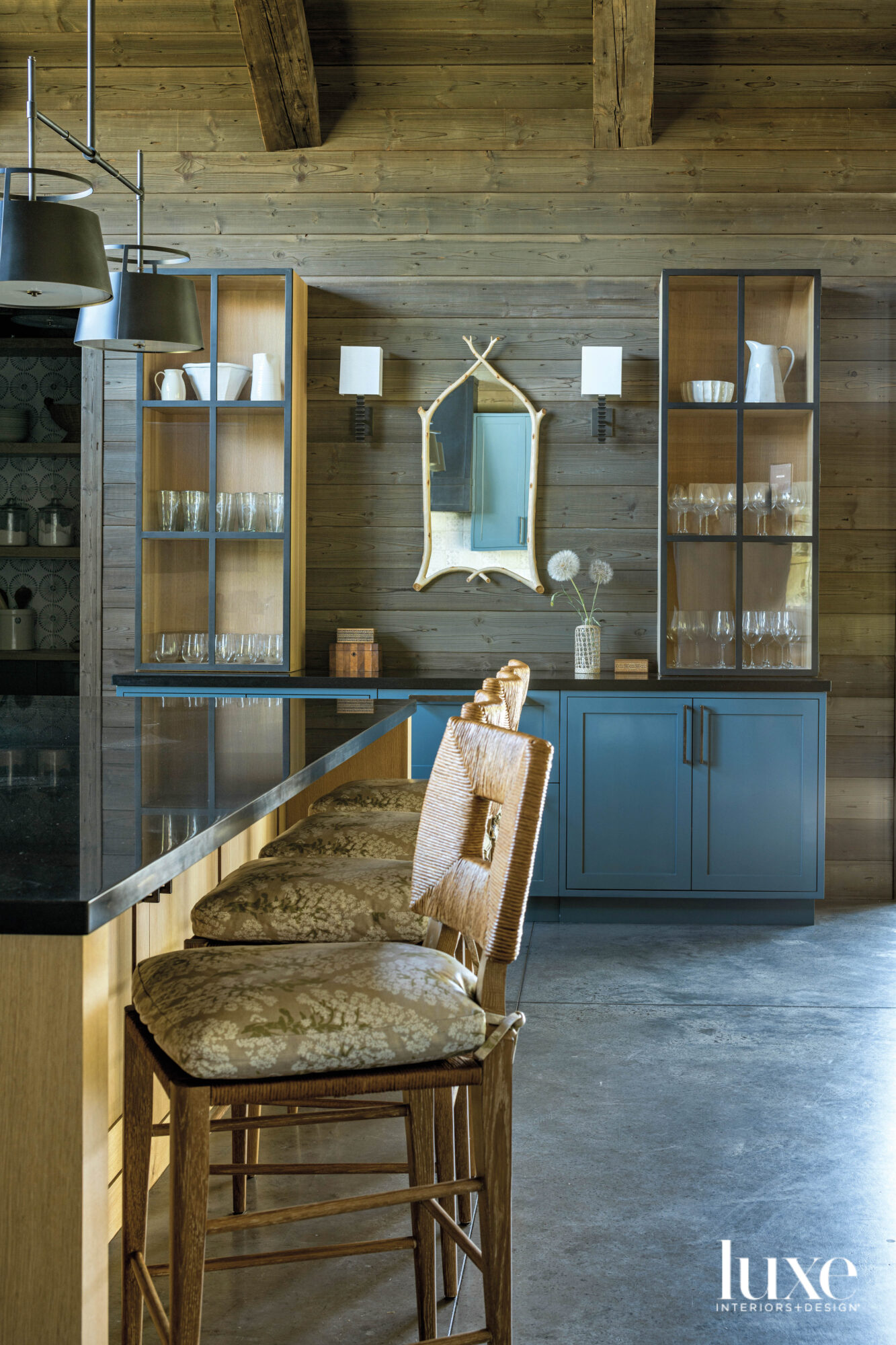 Detail of kitchen island and...