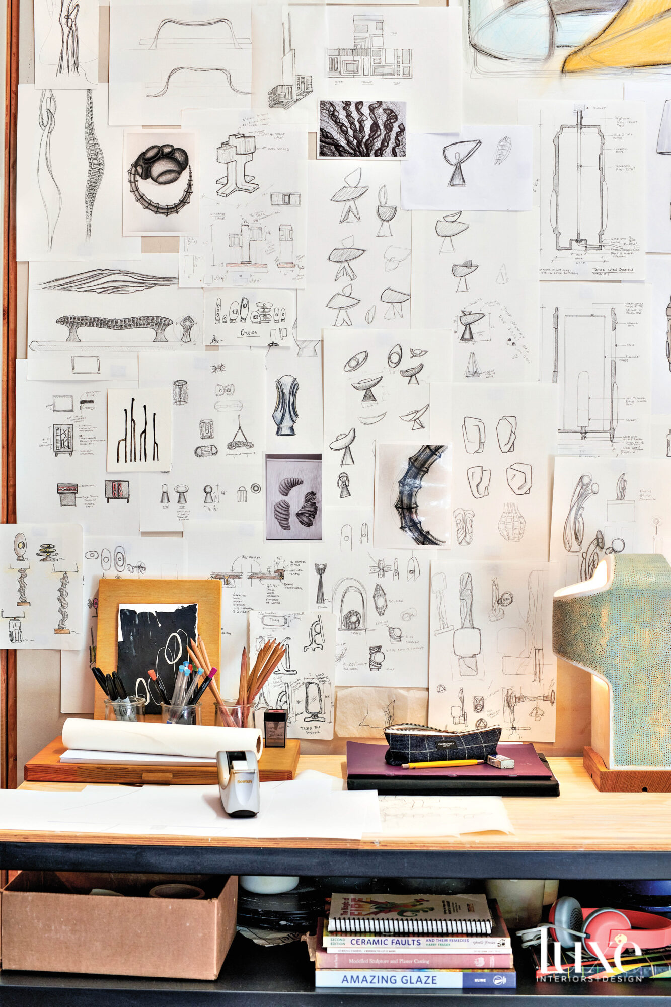 A wall with sketches