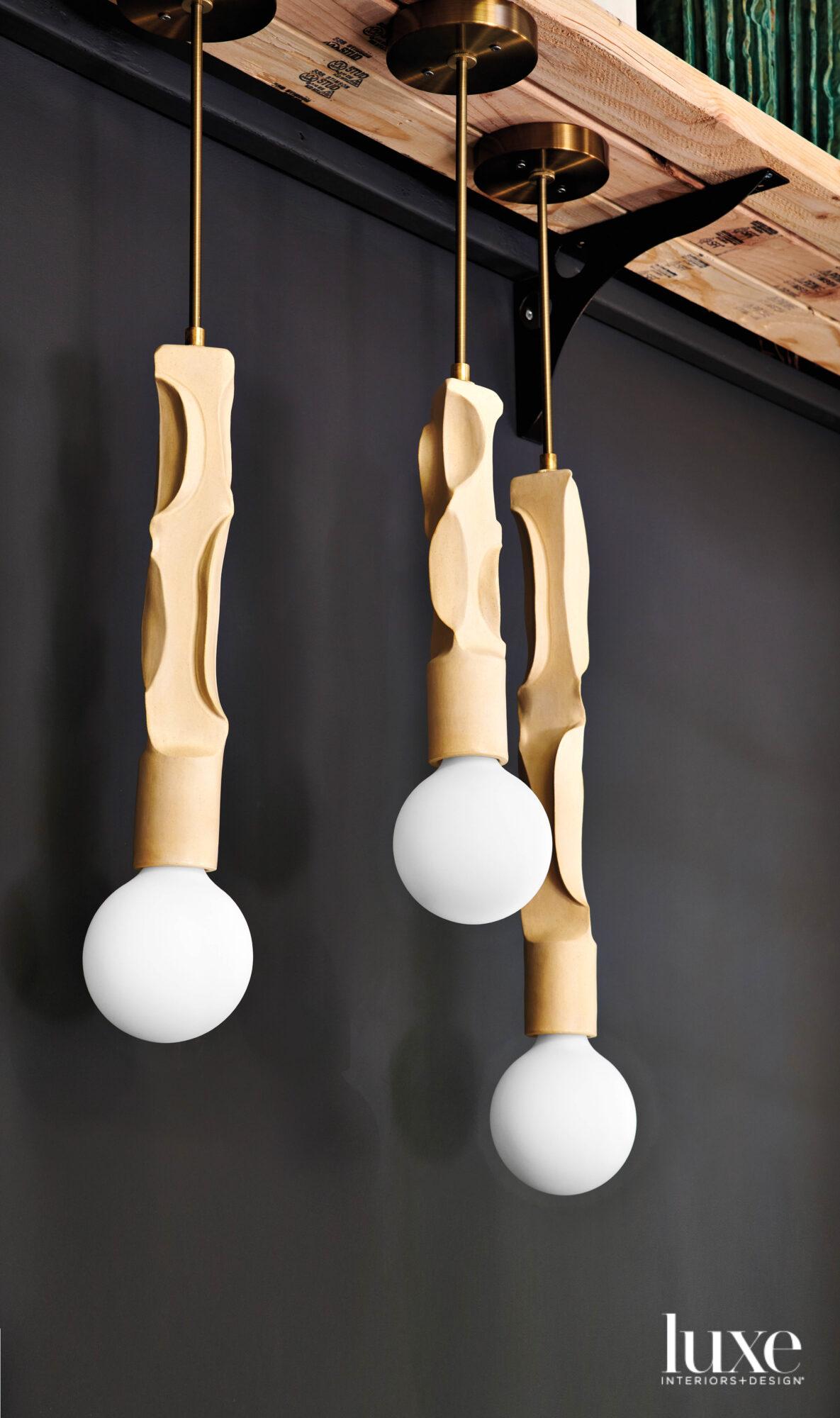 Three hanging pendant lights