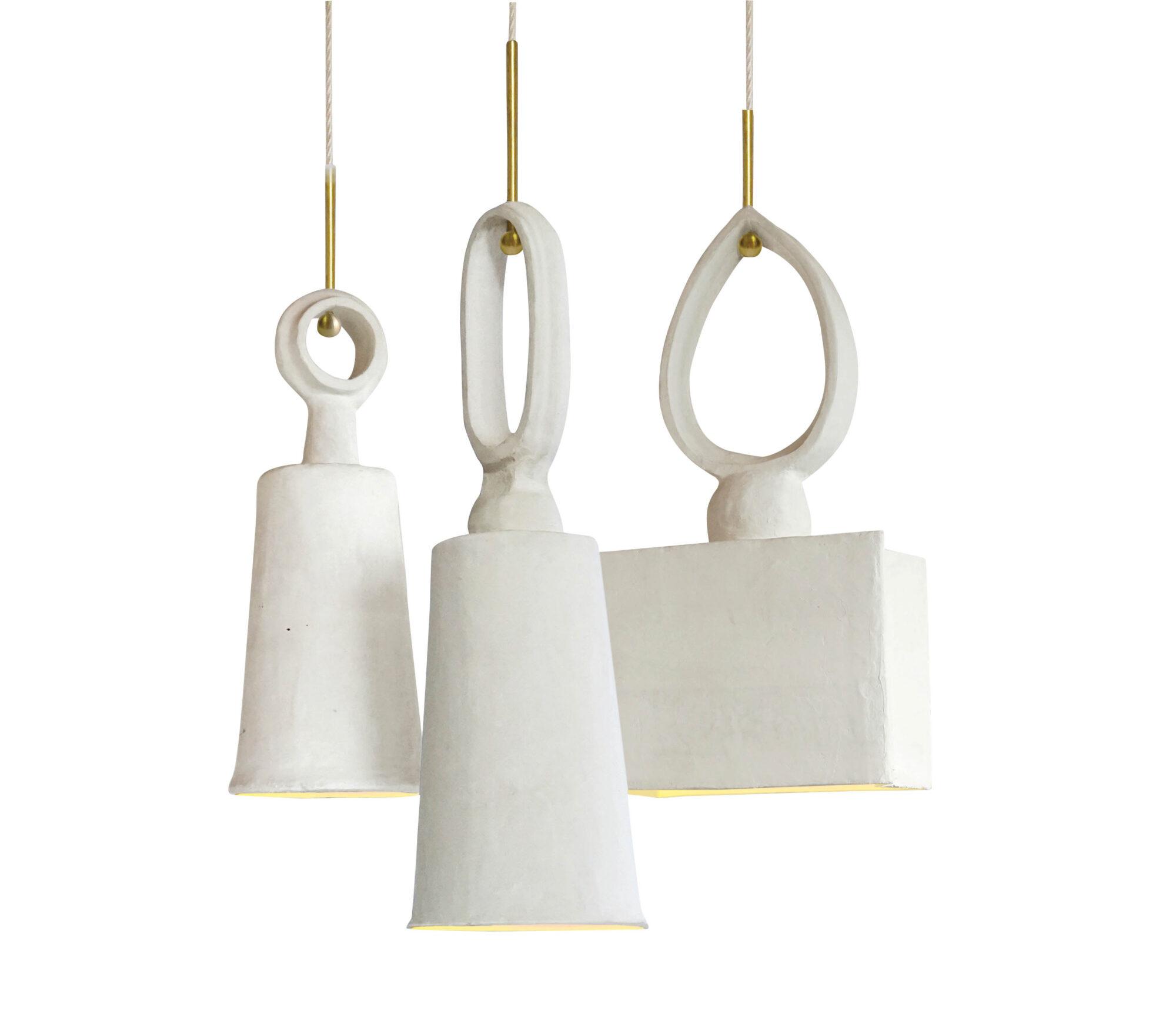 White plaster light fixture