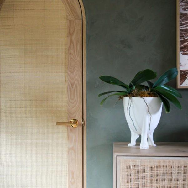 emtek wood door green wall