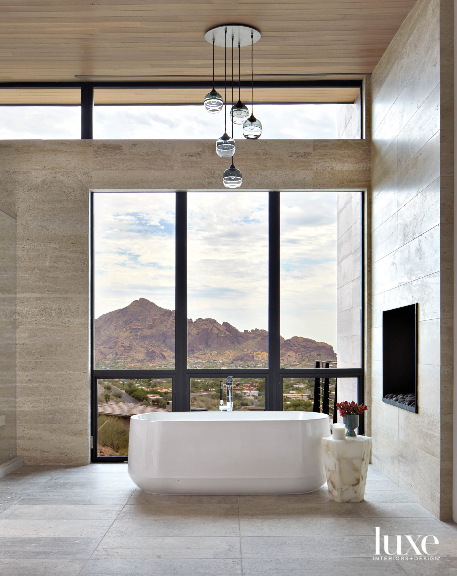 A bathroom with a large...